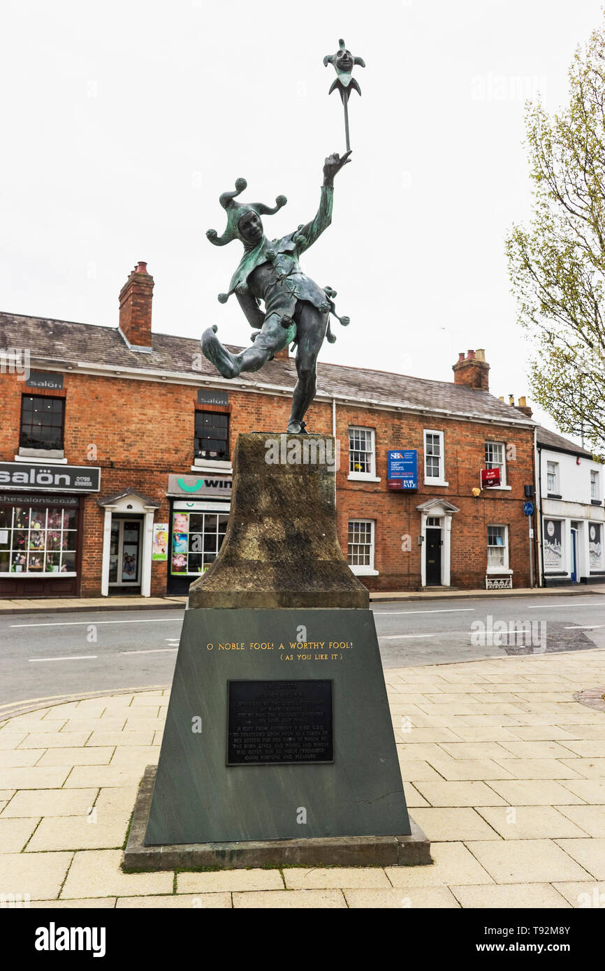 The Jester statue by James Butler at Stratford upon Avon, UK - Stock Image