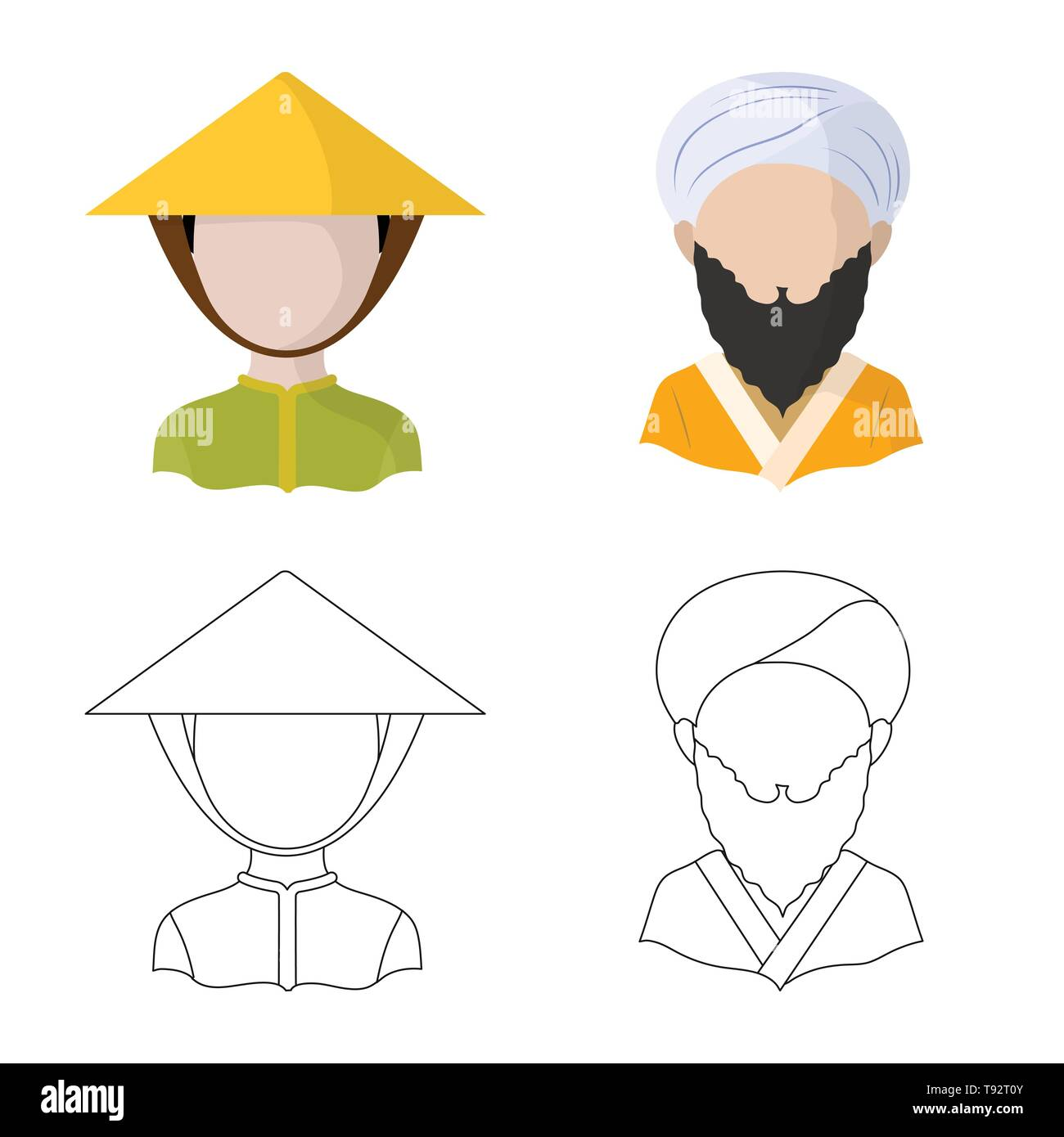 Vector illustration of imitator and resident icon. Set of imitator and culture stock vector illustration. - Stock Image