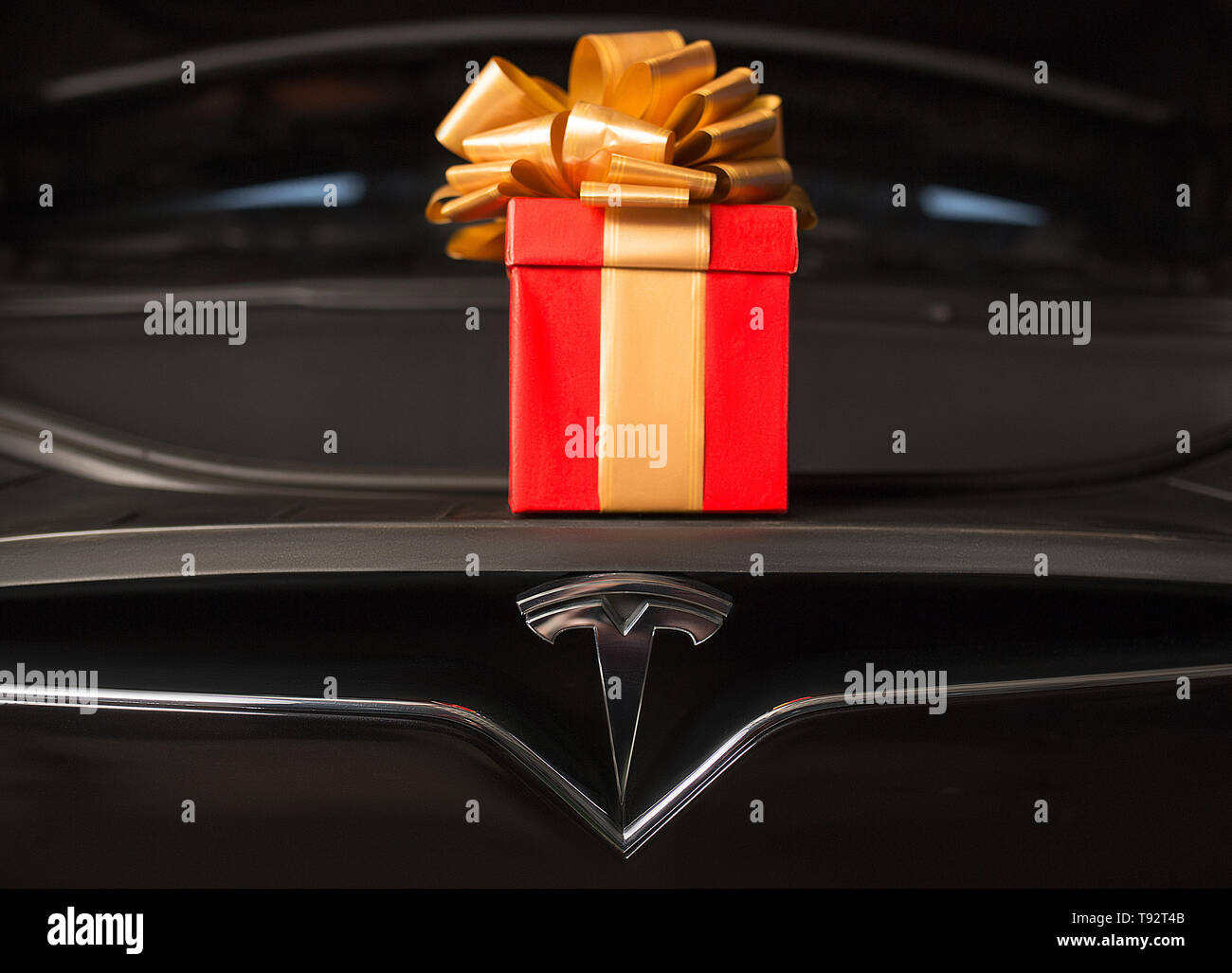 Perfect Gift in Front Trunk of Brand New Luxury Elecric Vehicle. - Stock Image