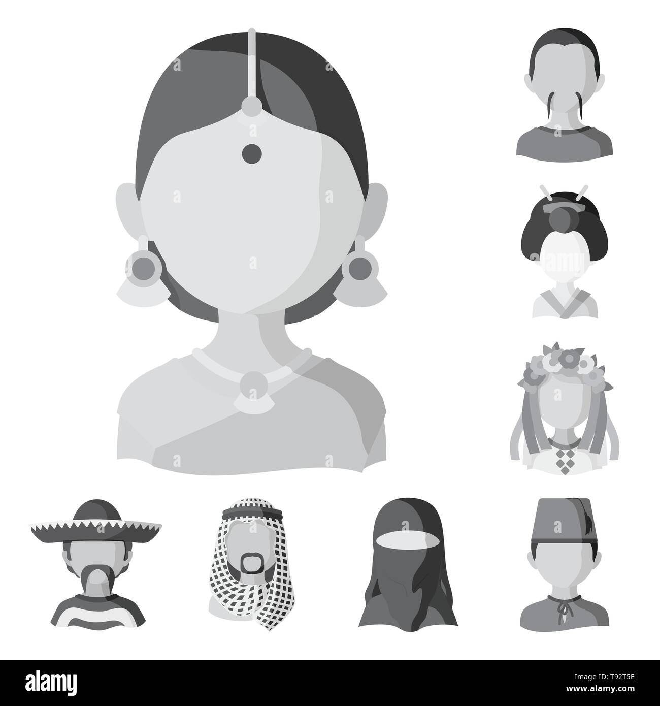 Vector illustration of person and culture symbol. Set of person and race  stock symbol for web. - Stock Image