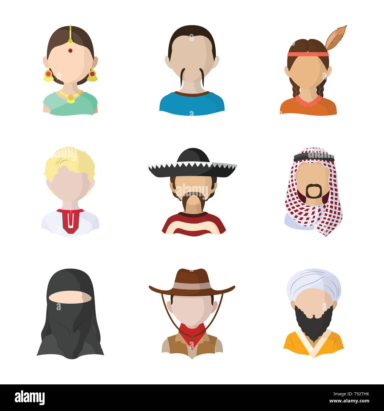 Vector illustration of nation and race  icon. Set of nation and user stock vector illustration. - Stock Image