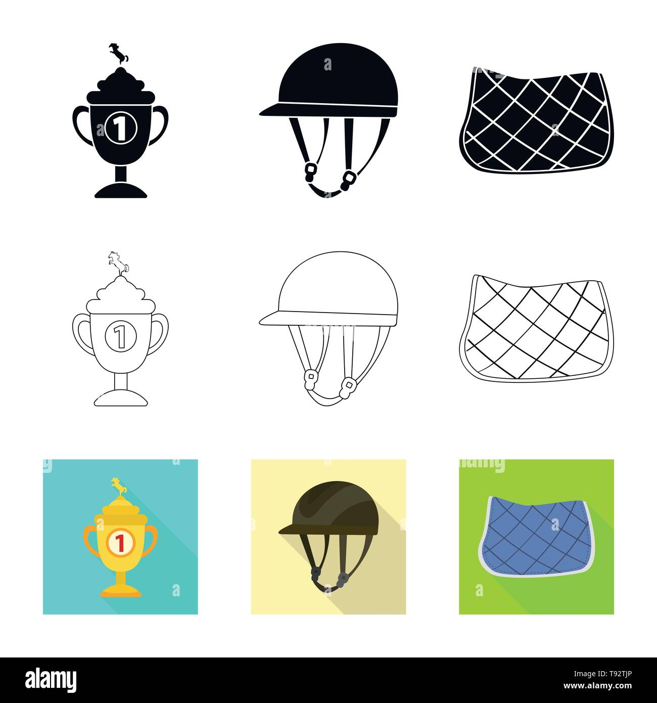 Isolated object of equipment and riding symbol. Set of equipment and competition vector icon for stock. - Stock Image