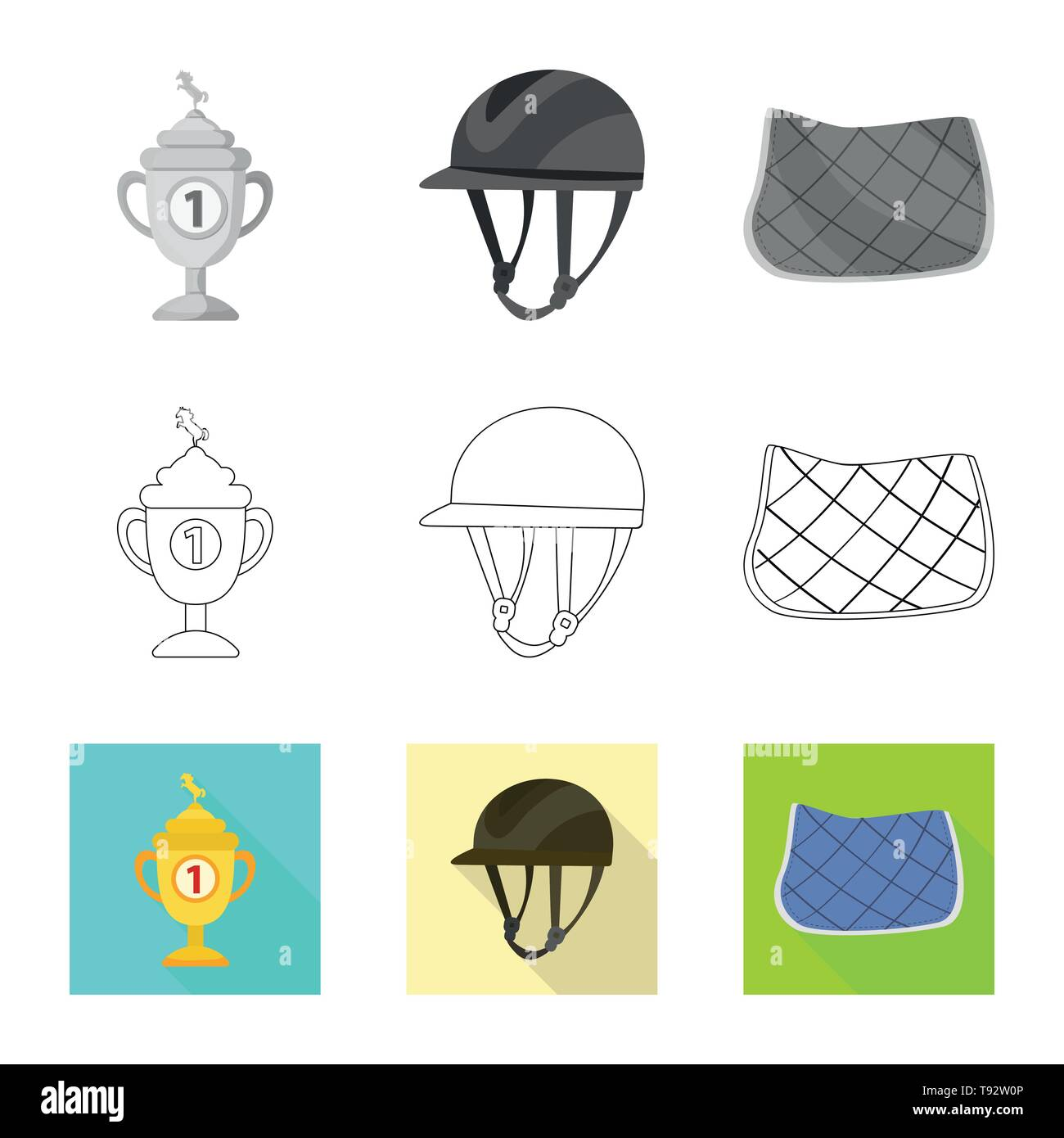 Vector design of equipment and riding logo. Set of equipment and competition vector icon for stock. - Stock Image