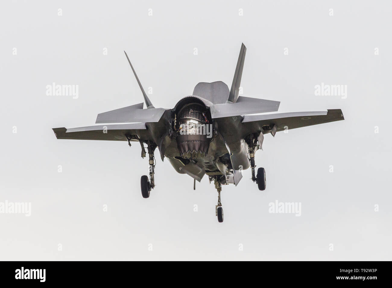ZM137 is the third Lockheed Martin F35B Lightning II for the RAF, first flown on Monday April 2 at Fort Worth, Texas. ZM137 seen here whilst displayin - Stock Image