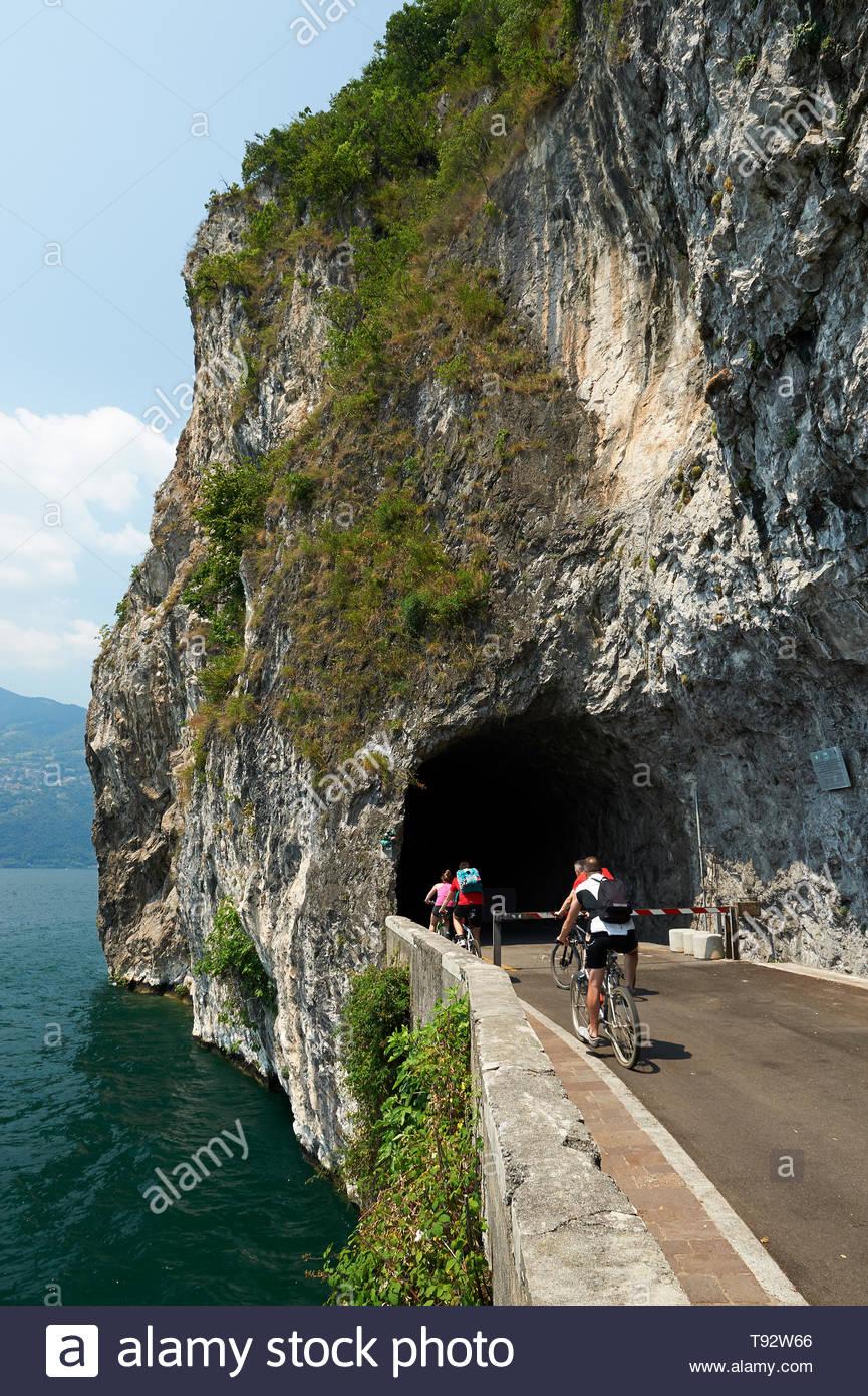 iseo lake, cycle path vello-toline, vello - Stock Image