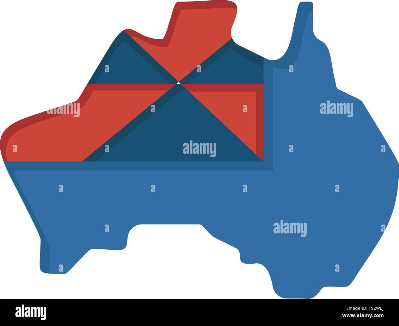 Australia Map Icon.Australia Map Country Flag Flat Color Icon Vector Icon Banner