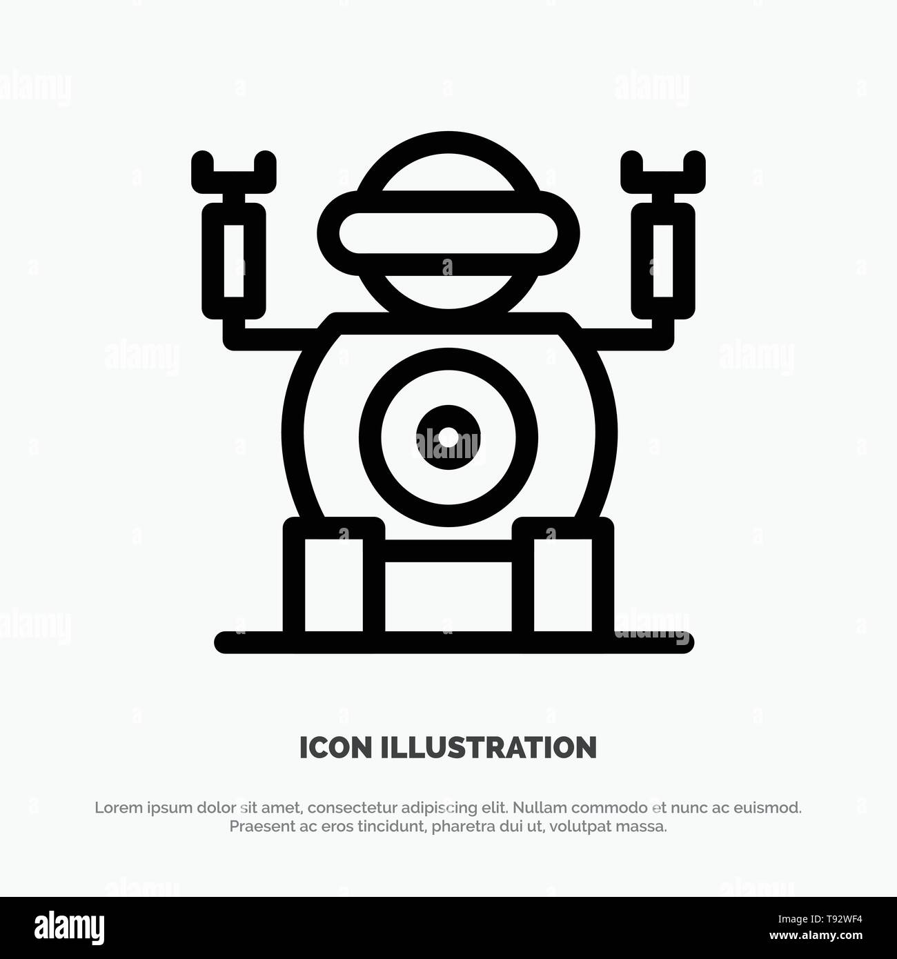 Robot, Technology, Toy Line Icon Vector Stock Vector