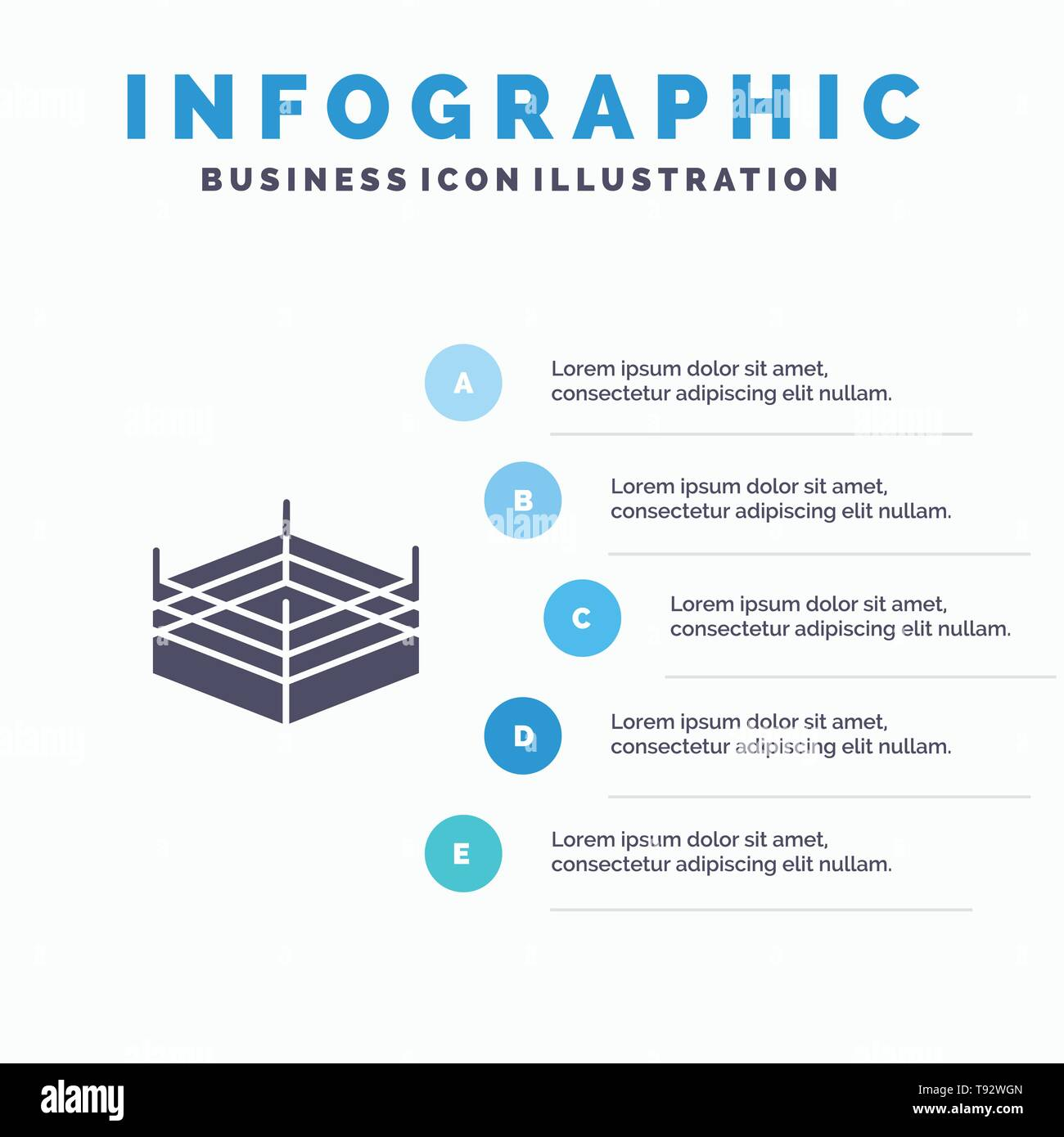 Boxing, Ring, Wrestling Solid Icon Infographics 5 Steps Presentation Background - Stock Image