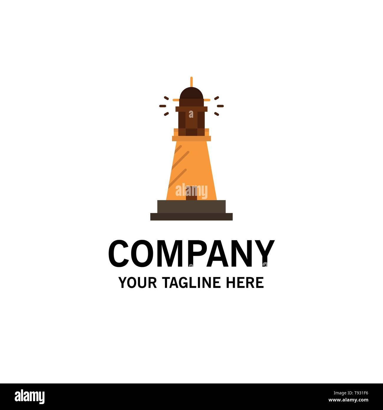 Lighthouse, House, Light, Beach, Ocean Business Logo Template. Flat Color - Stock Vector