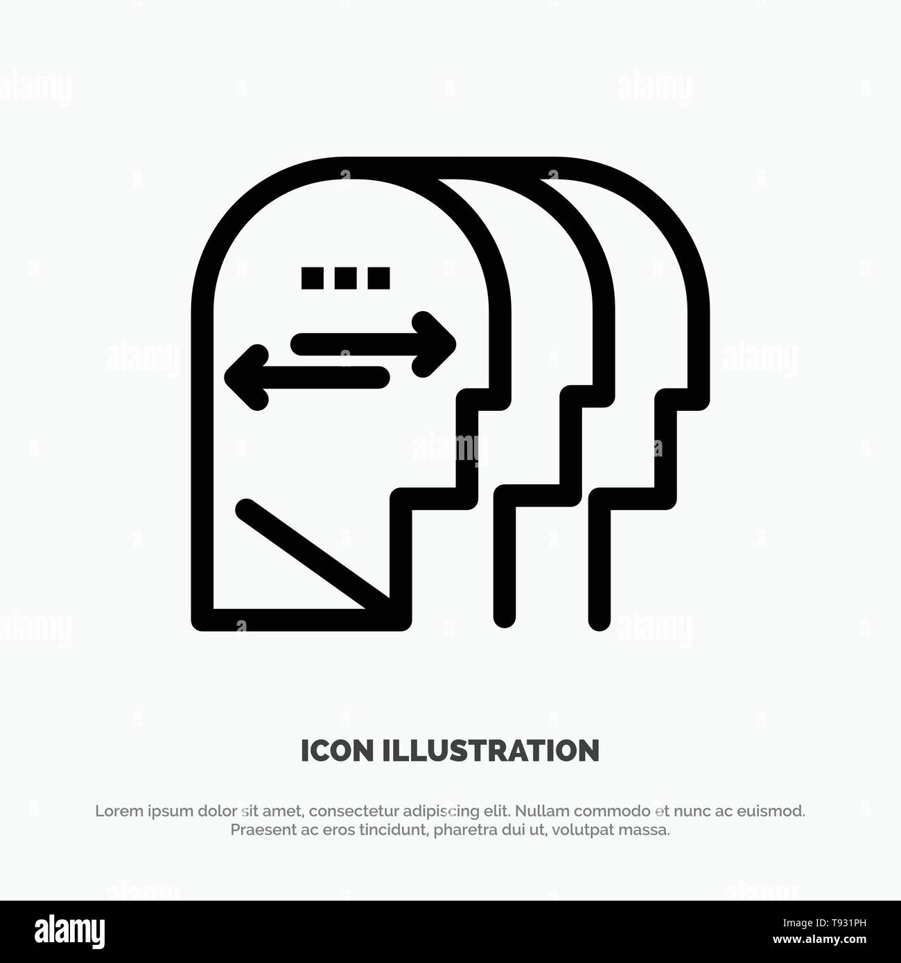 Personality, Character, Mind, Head Line Icon Vector - Stock Vector