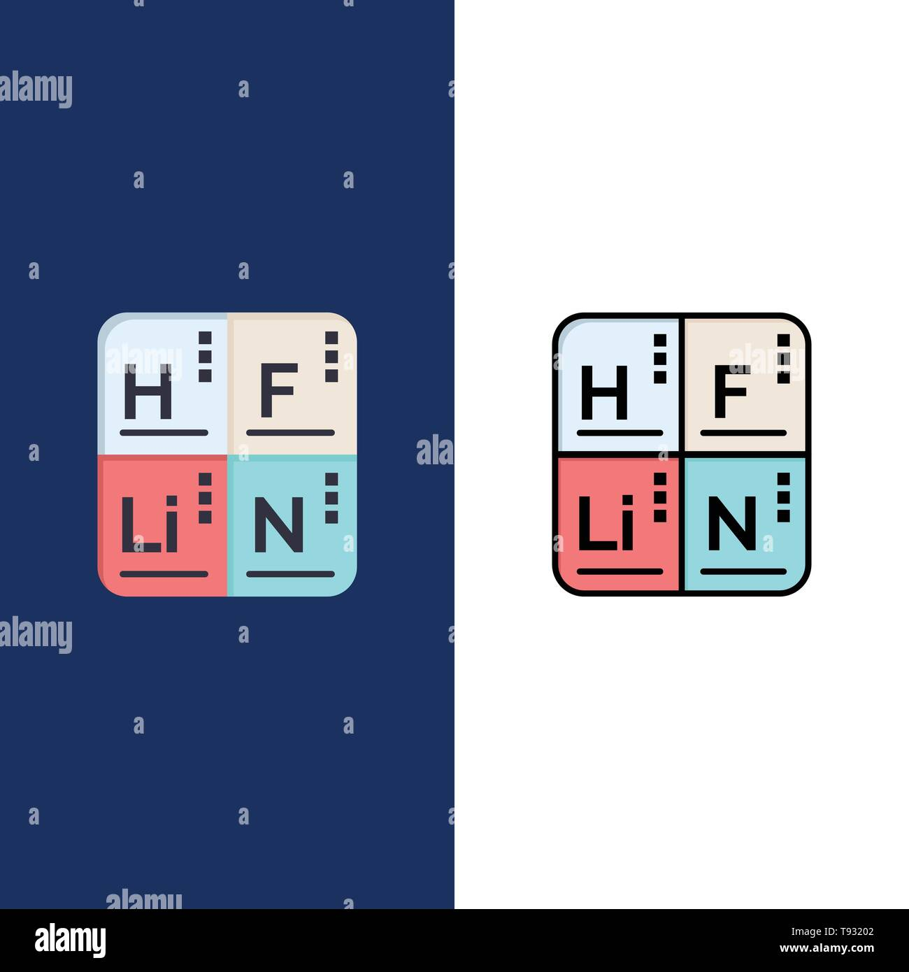 Periodic Table Elements Medical Icons Flat And Line Filled