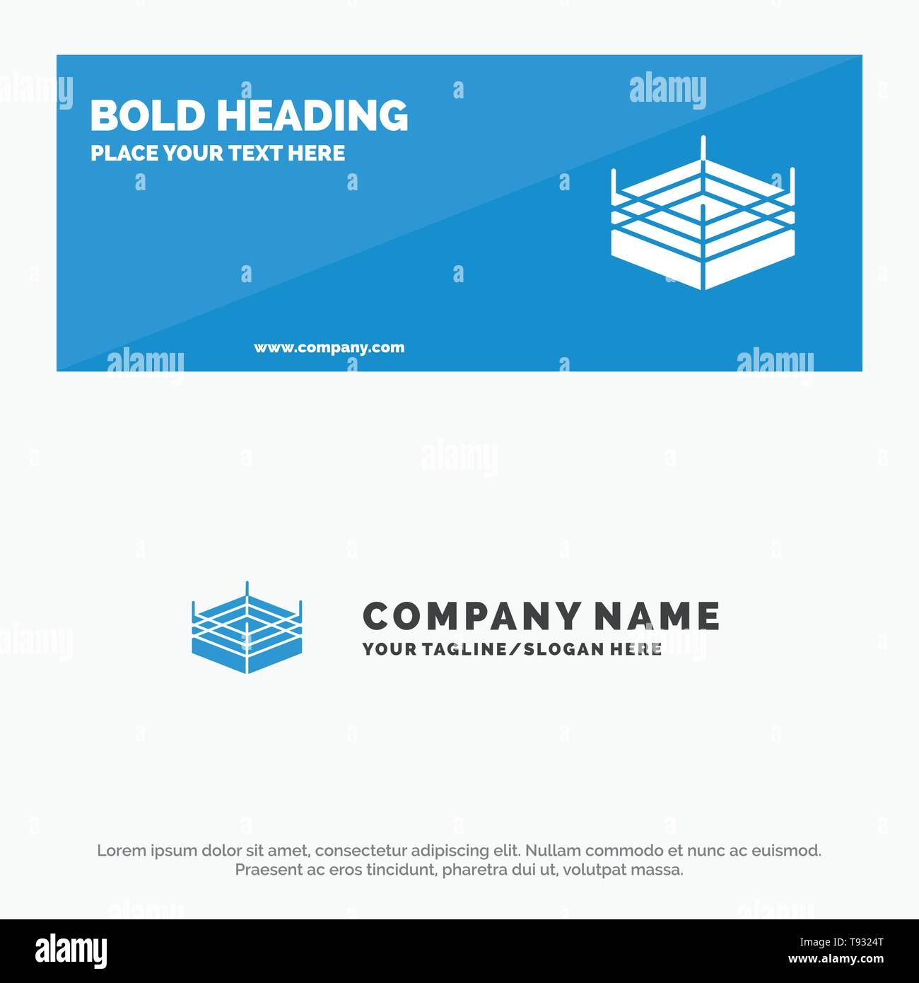 Boxing, Ring, Wrestling SOlid Icon Website Banner and Business Logo Template - Stock Image
