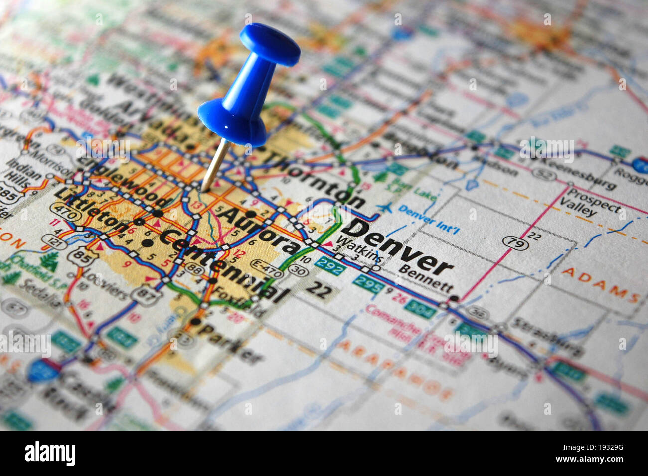 A map of Denver, Colorado marked with a push pin. - Stock Image