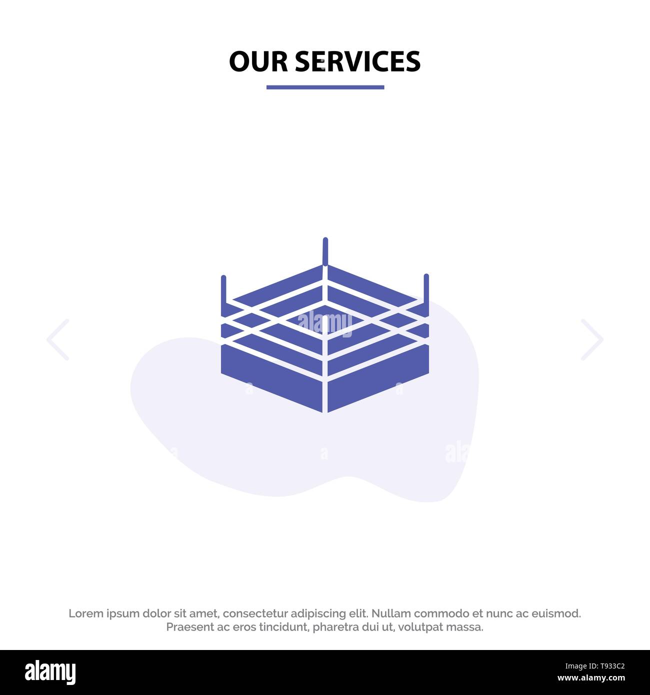 Our Services Boxing, Ring, Wrestling Solid Glyph Icon Web card Template - Stock Image