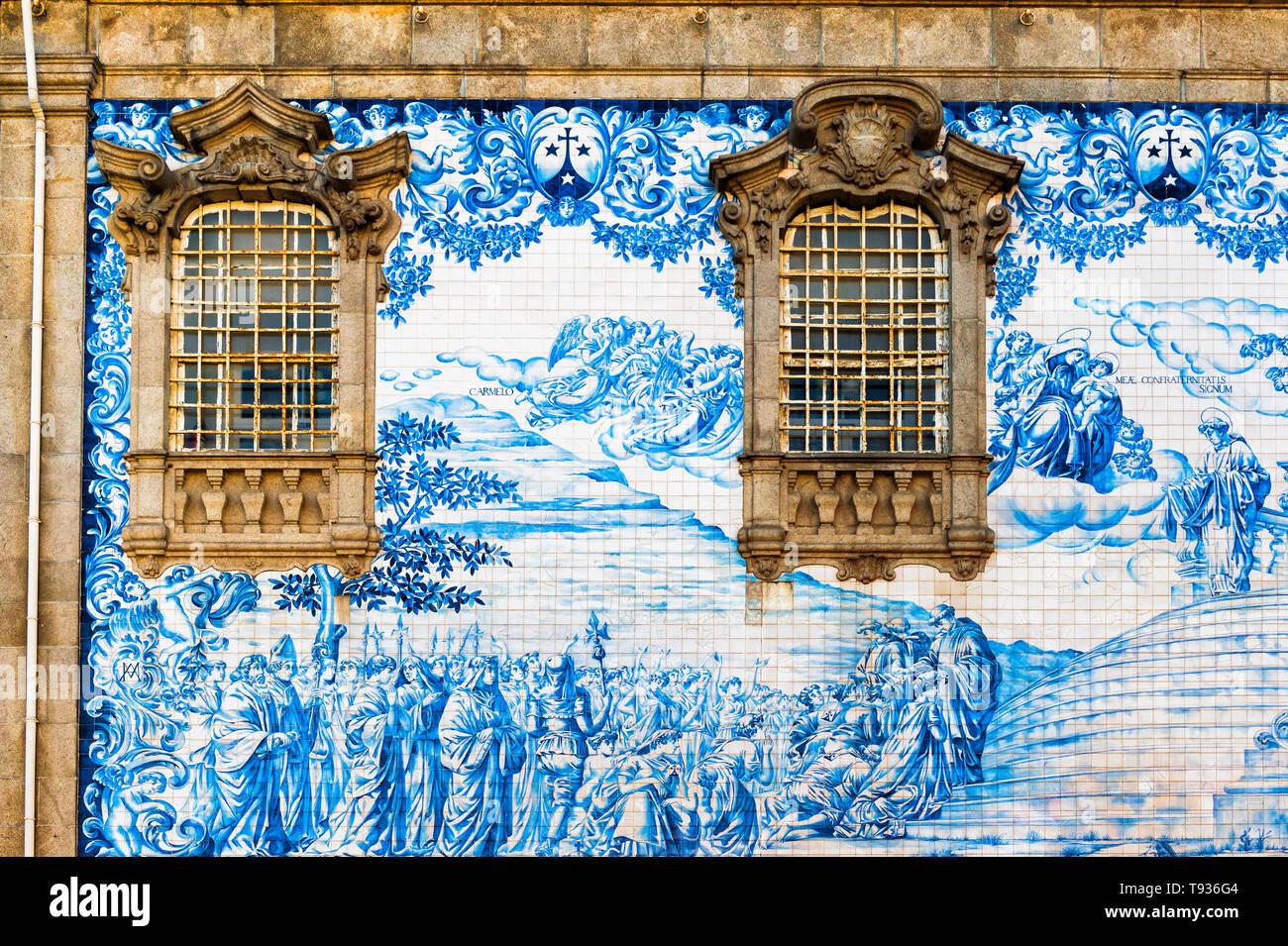 Azulejos on the walls of Capela Das Almas, Unesco World Heritage Site, OPorto, Portugal - Stock Image