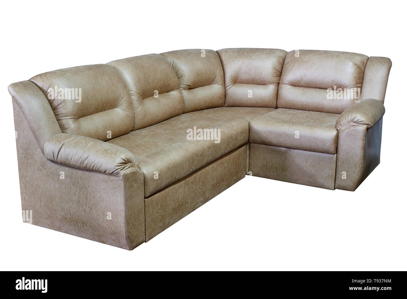 modern beige large corner cozy sofa on a white background ...
