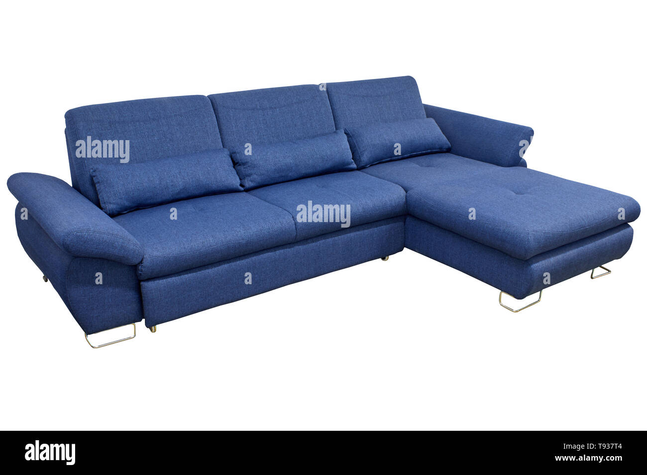 Awe Inspiring Modern Blue Large Cozy Fabric Sofa Corner With Pillows And Gamerscity Chair Design For Home Gamerscityorg