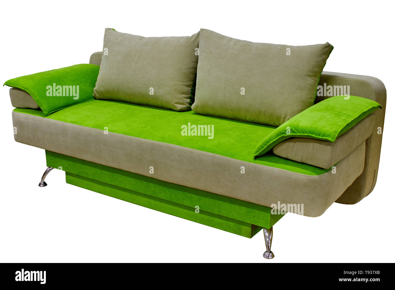 modern cozy fabric sofa two-tone beige and bright green without armrests on a white background - Stock Image