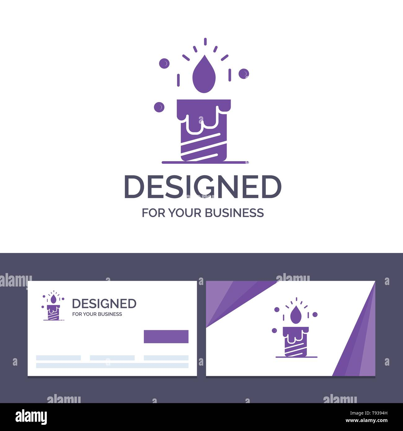 Creative Business Card and Logo template Candle, Light, Wedding, Love Vector Illustration - Stock Image