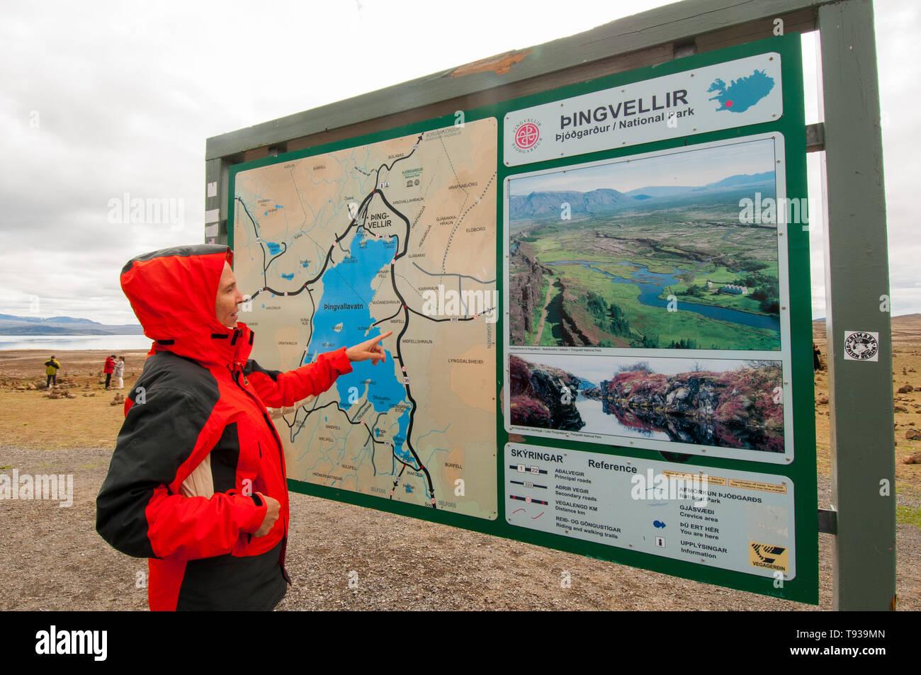 Tourists at Thingvellir National Park, Iceland - Stock Image