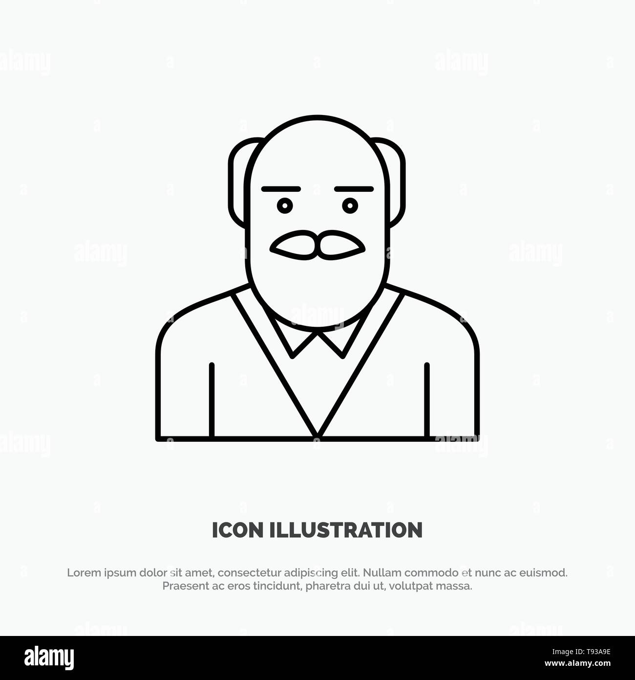 Grandpa, Father, Old Man, Uncle Line Icon Vector - Stock Image