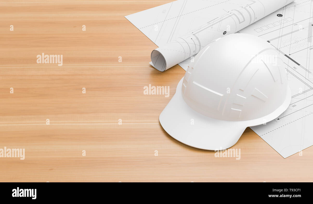 White safety helmet on wooden table with blueprints. Safety helmet for engineers, supervisors, managers and foreman. 3D illustration. - Stock Image