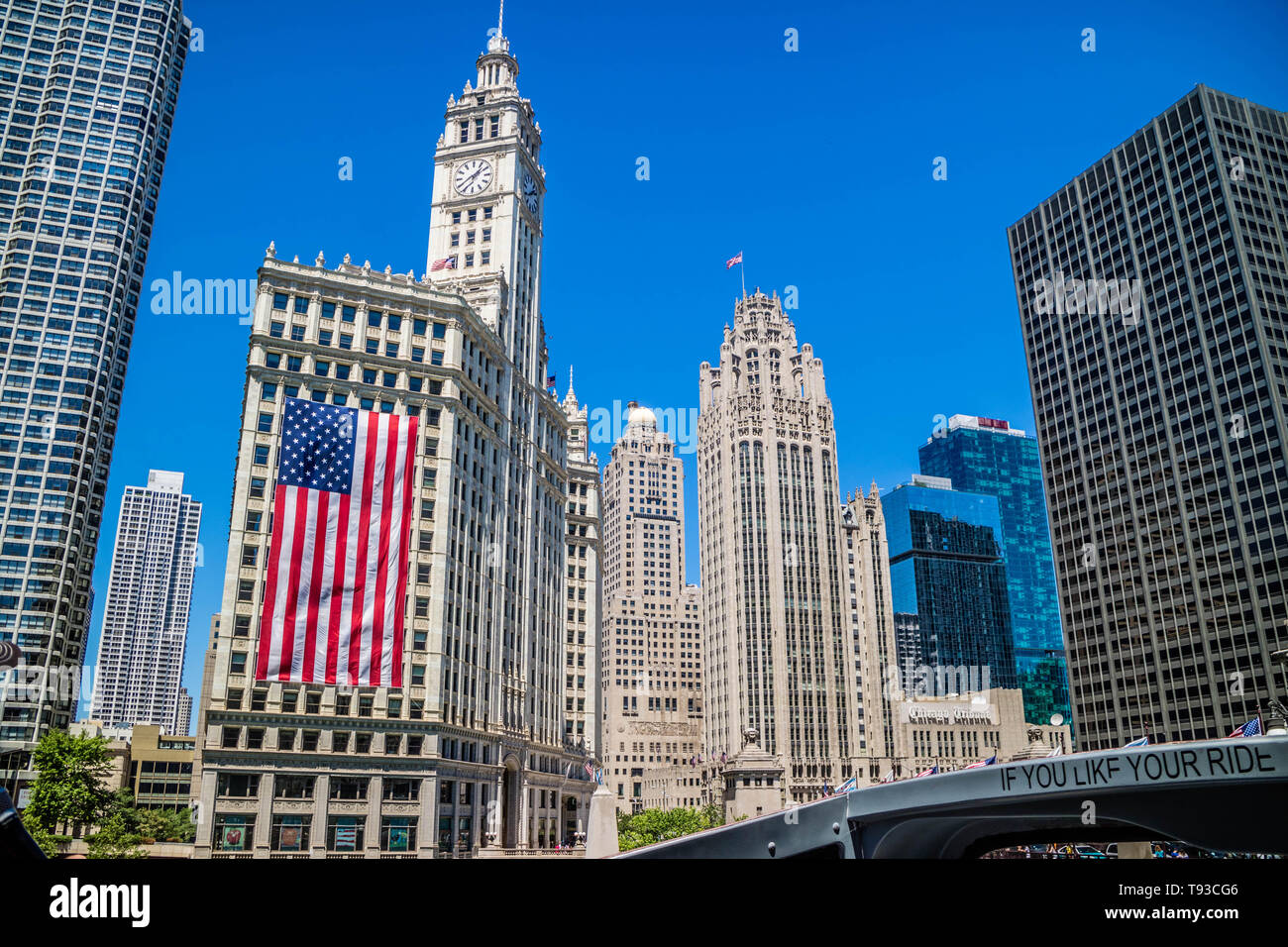 Chicago, IL, USA - July 8, 2018: The famous Wrigley building - Stock Image