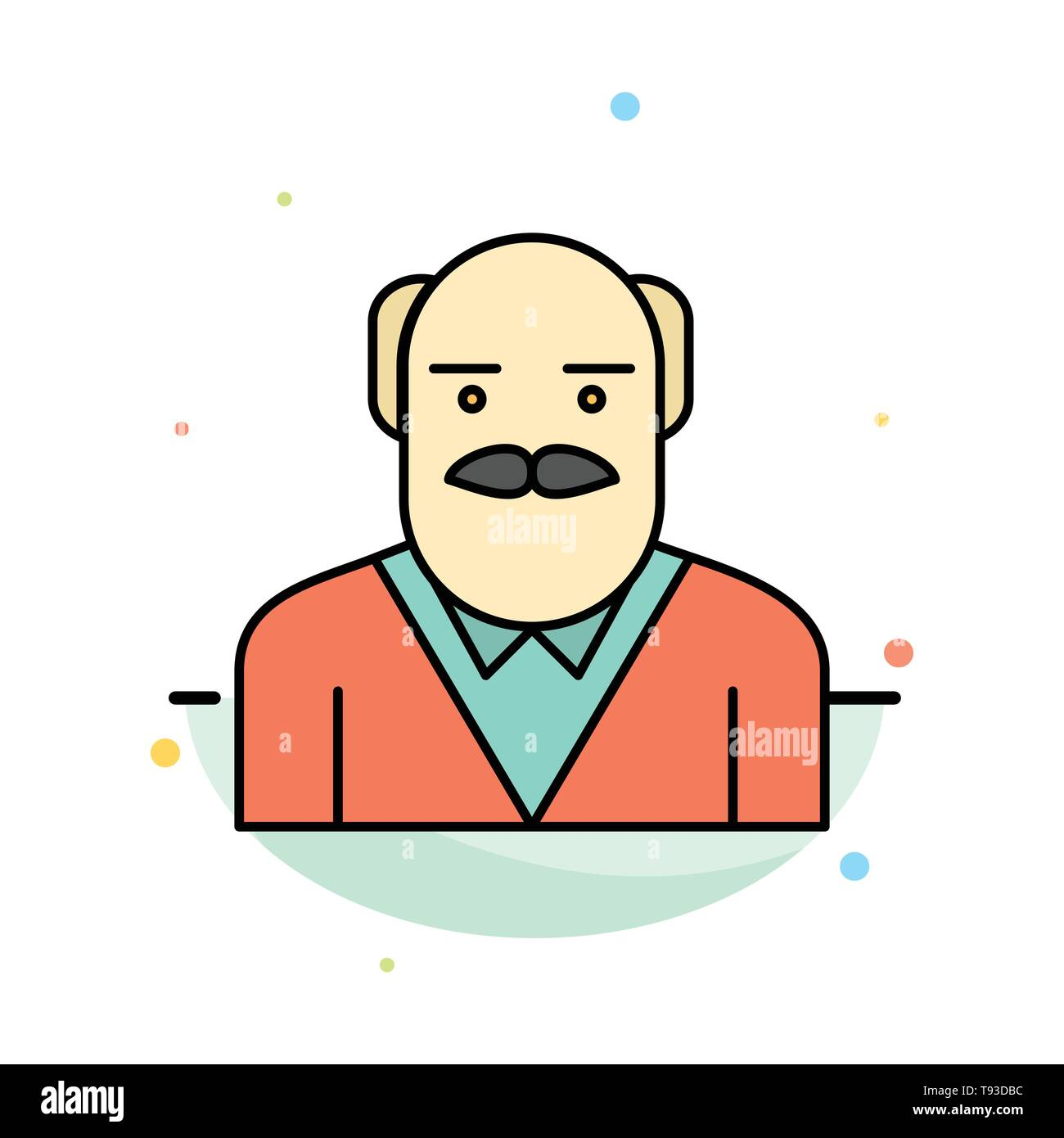 Grandpa, Father, Old Man, Uncle Abstract Flat Color Icon Template - Stock Image