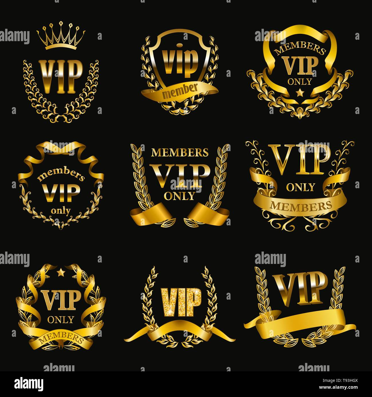Set of gold vip monograms for graphic design on black background. - Stock Vector