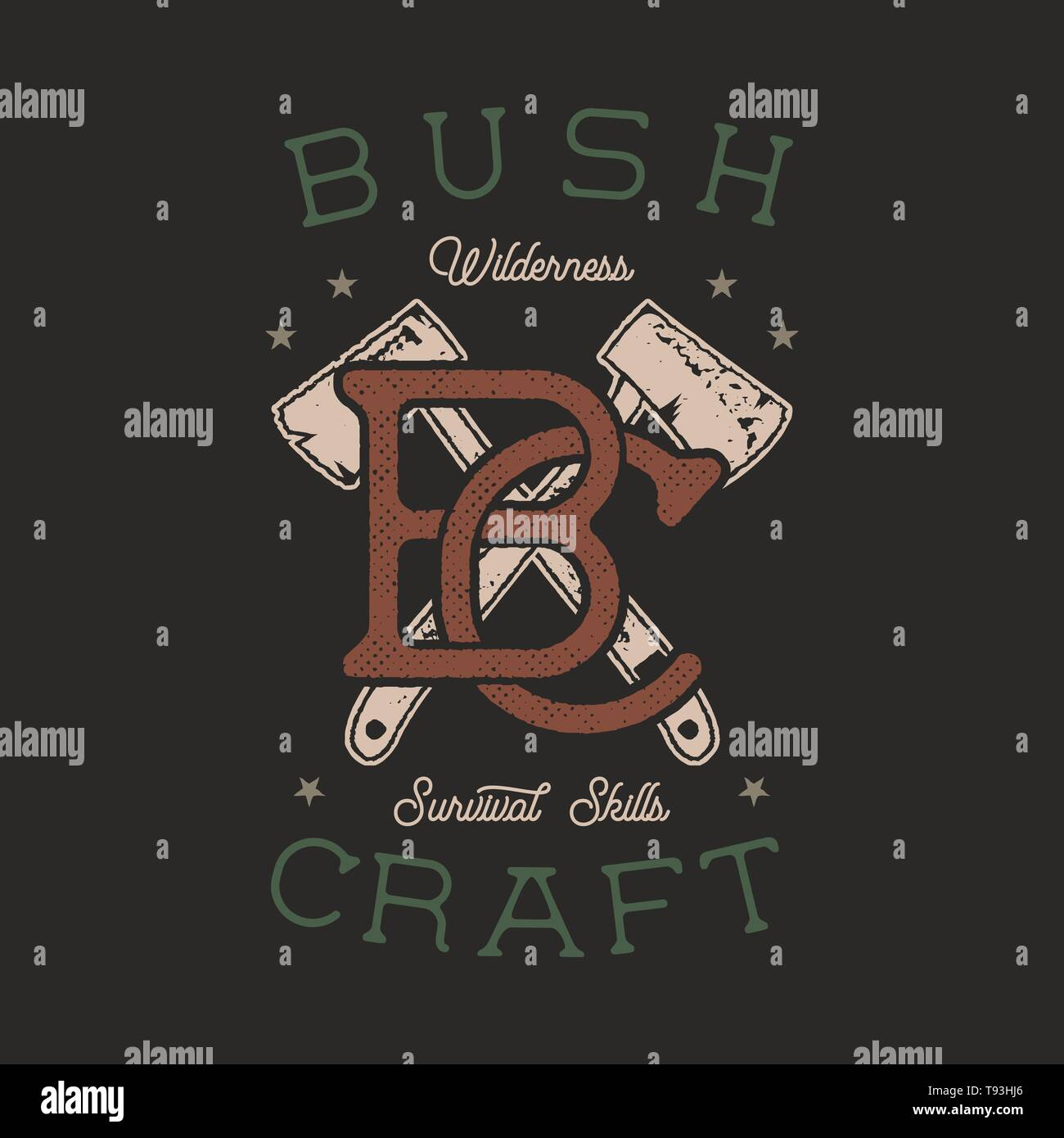 Vintage hand drawn adventure logo with axes and quote - Bushcraft Wilderness survivals skills. Old style outdoors adventure patch. Retro typography em - Stock Image