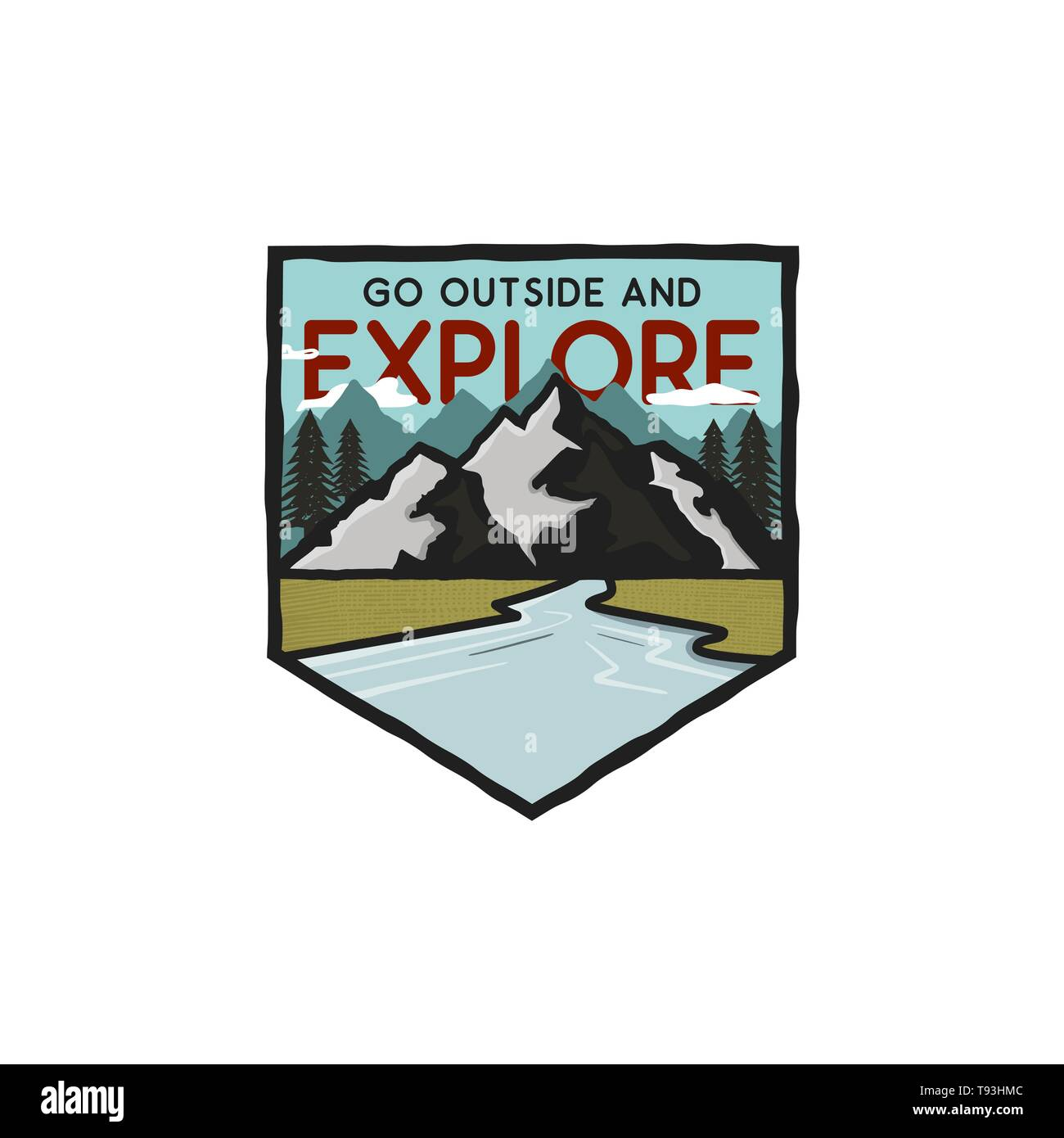 Vintage hand drawn adventure logo with mountains, river and quote - Go outside and explore. Old style outdoors adventure patch. Retro emblem graphic.  - Stock Image