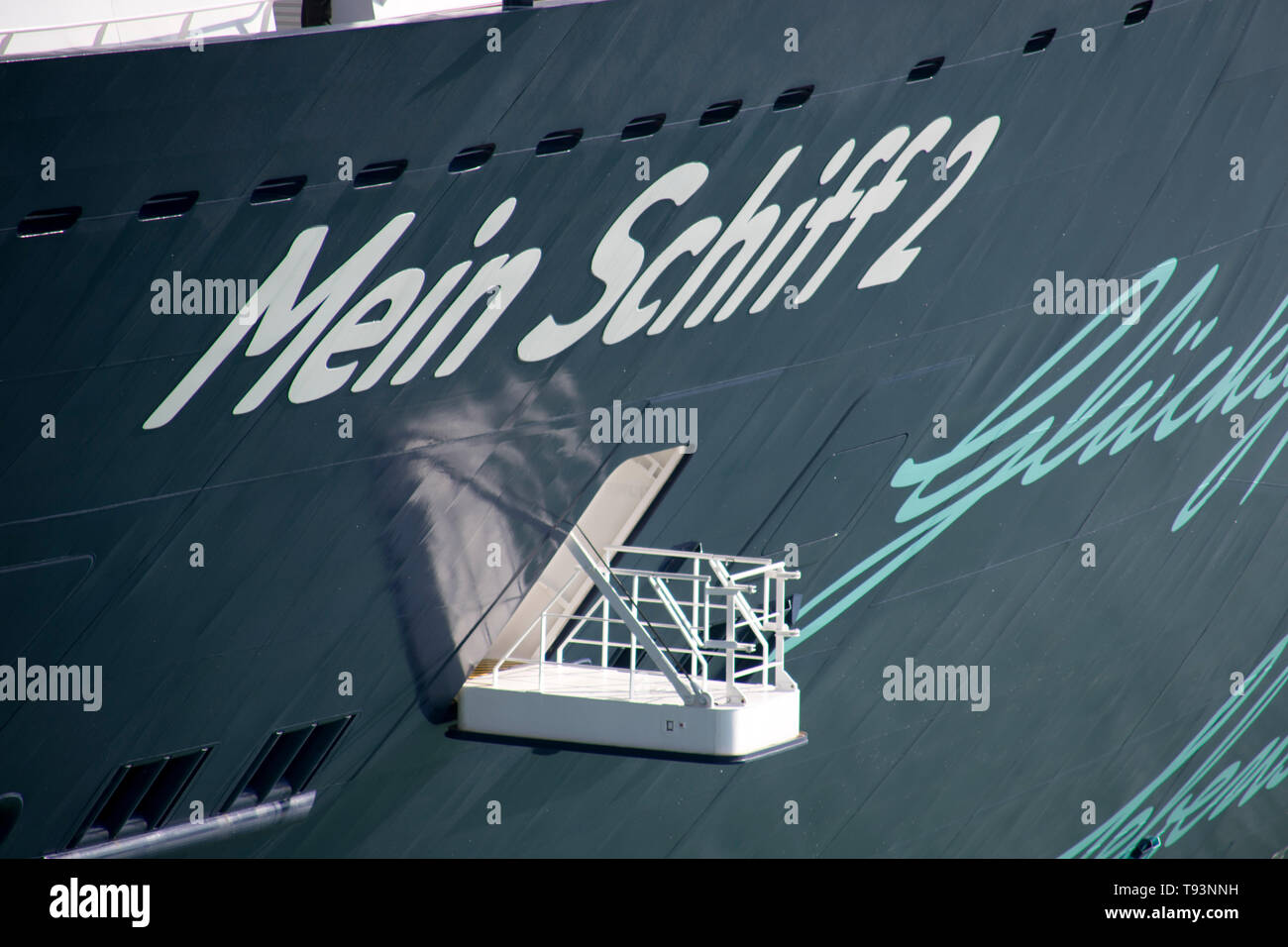 Auxiliary gate for the maneuver of the tourist cruise Mein Schiff 2 - Stock Image