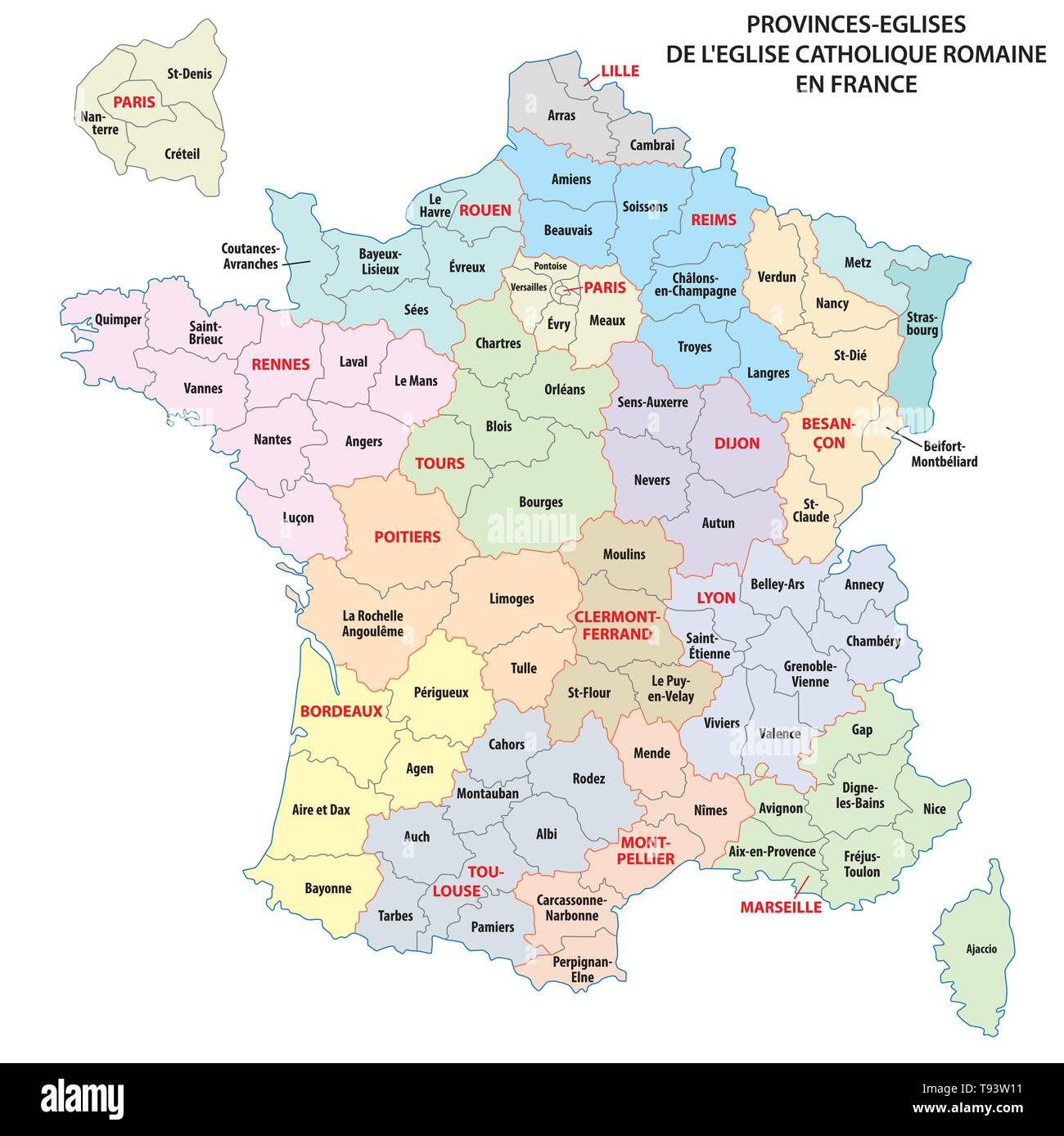 Map Of Provinces In France.Map Of The Roman Catholic Church Provinces In France Stock