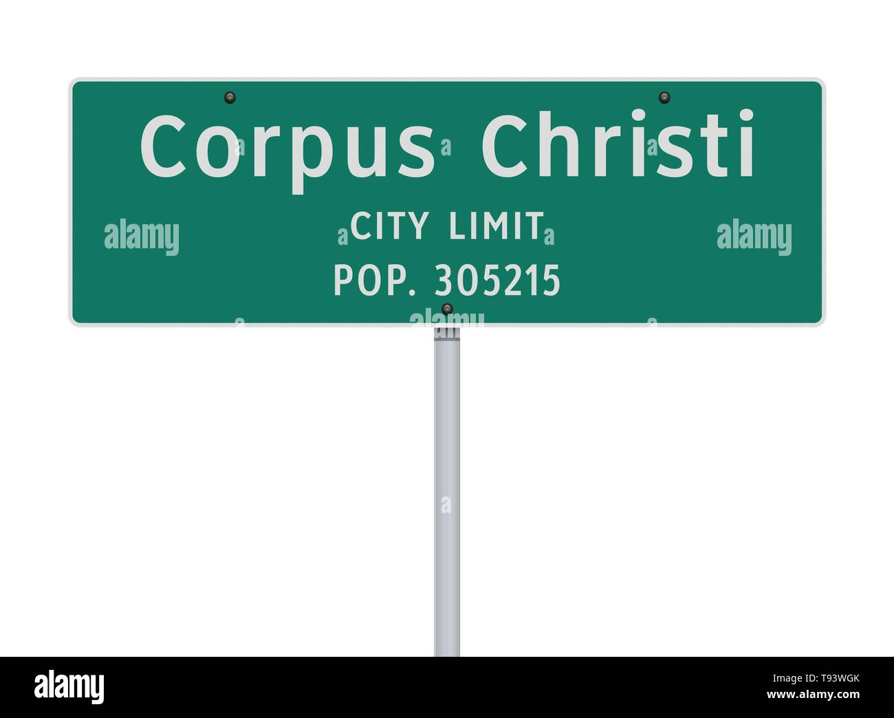 Vector illustration of the Corpus Christi City Limit green road sign - Stock Vector