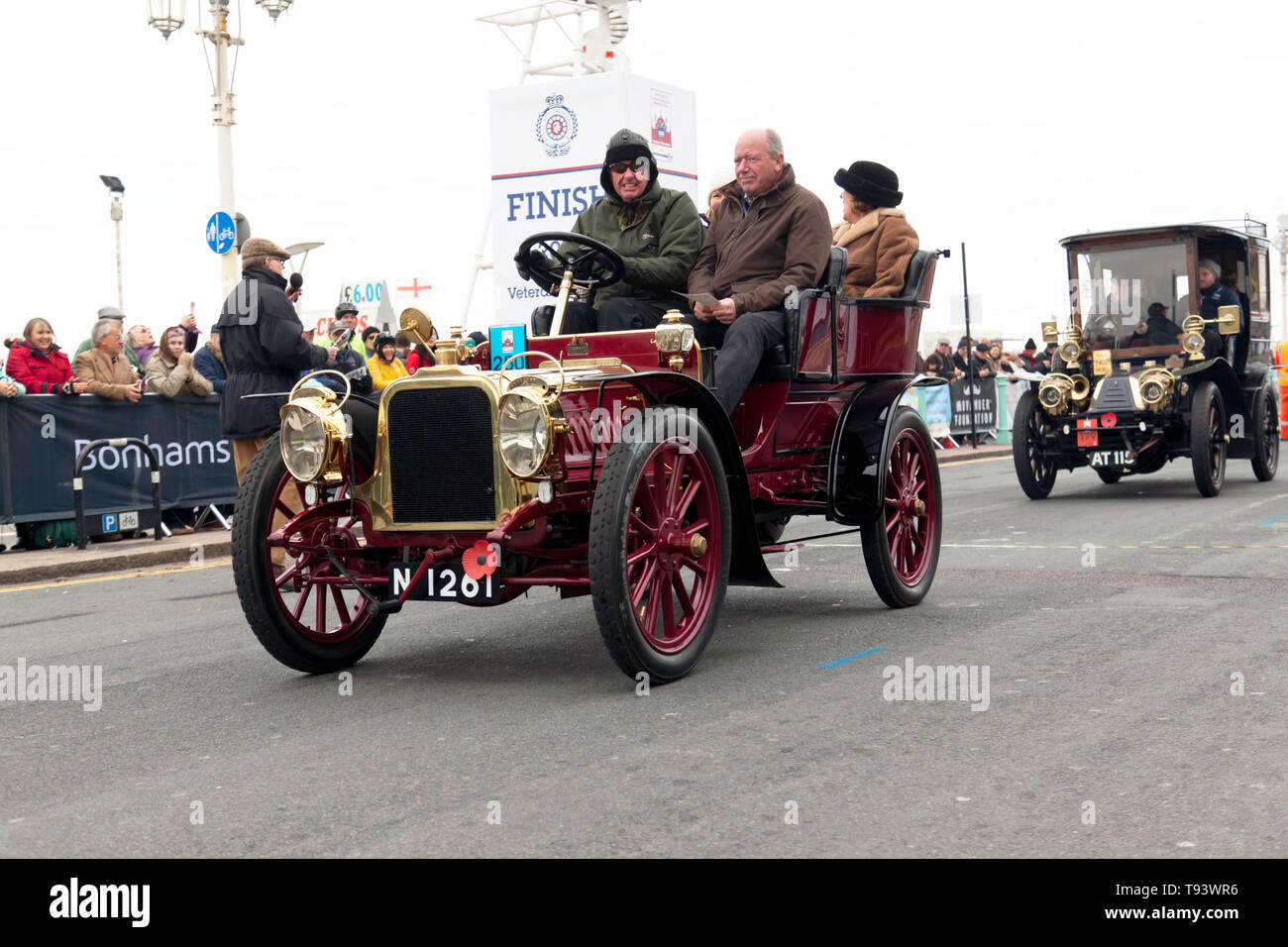 Mr Alan Beardshaw at the wheel of his 1903 Clement, at the finish of the 2018 London to Brighton Veteran Car Run - Stock Image
