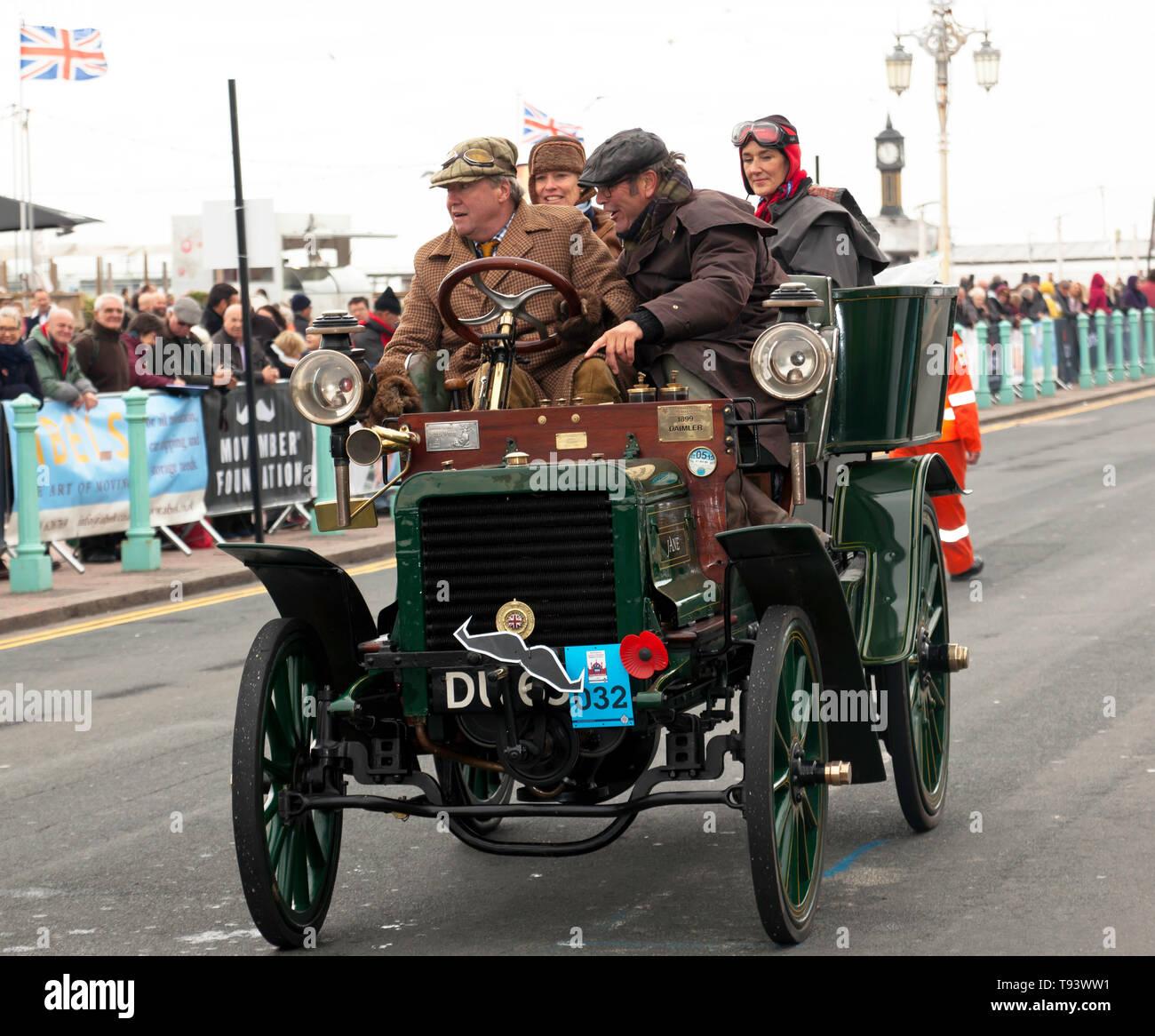 Mr Robert Abrey, driving his 1899 Daimler Down Madera Drive at the finish of the 2018 London to Brighton Veteran Car Run - Stock Image