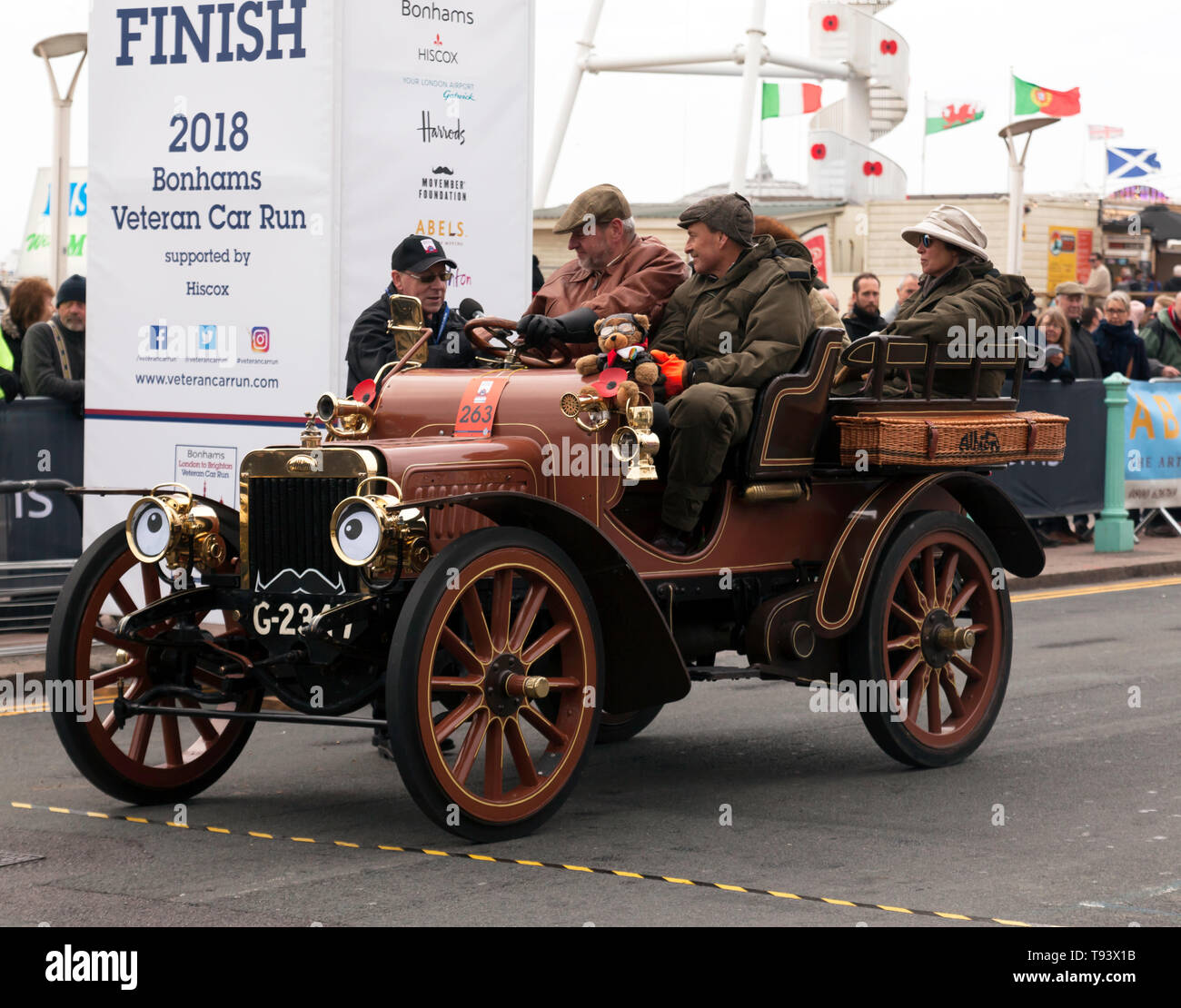 Mr David Pain, in his 1904, Albion, being interviewed at the end of the 2018 London to Brighton Veteran Car Run - Stock Image