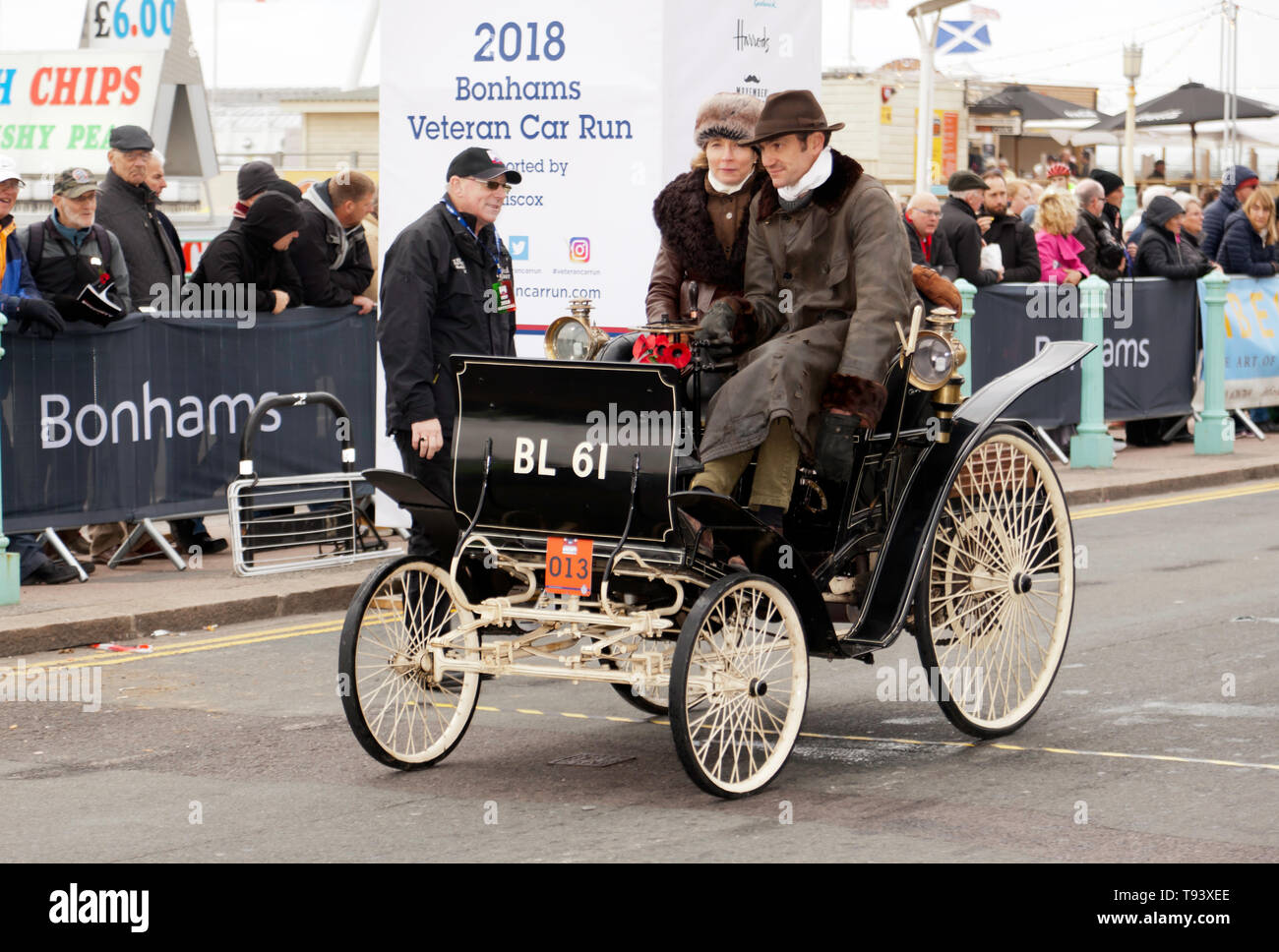Mr Ben Collings driving his 1898 Benz, at the finish line of the 2018 London to Brighton Veteran Car Run. Stock Photo