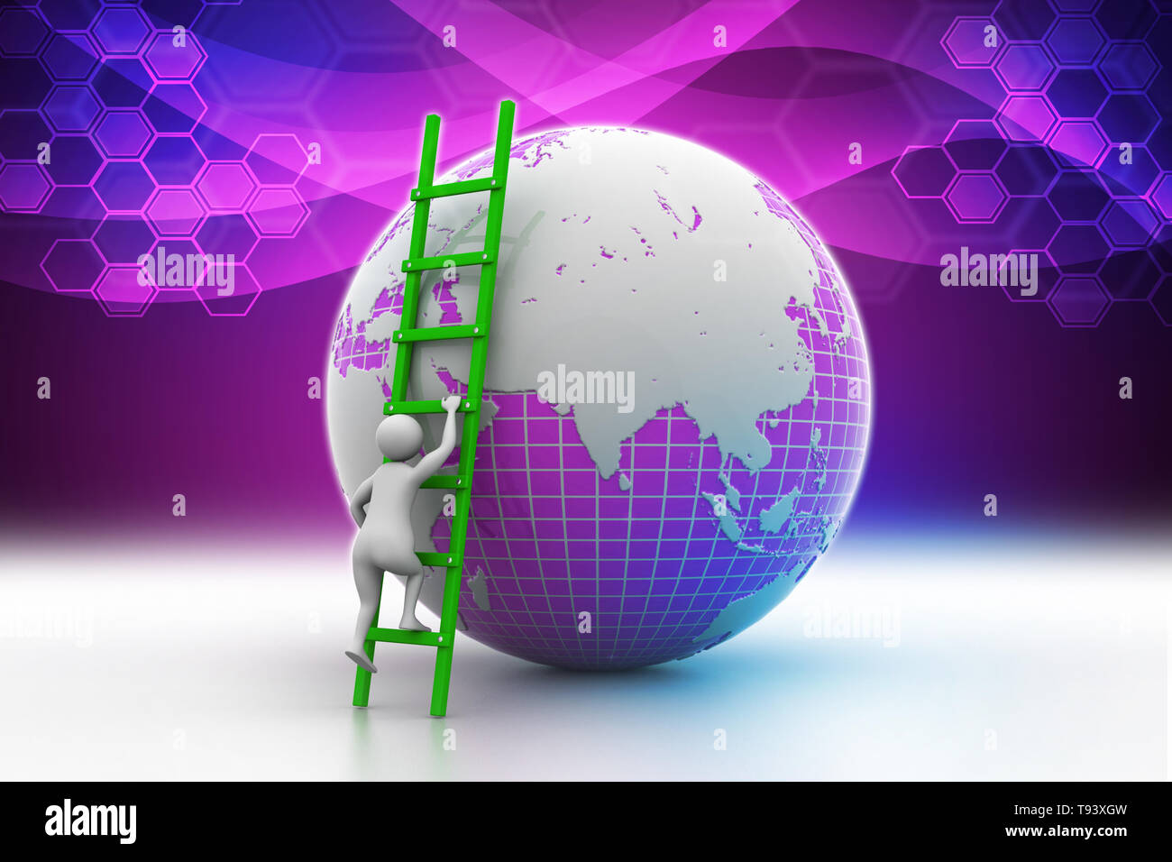 Earth globe and ladder - Stock Image