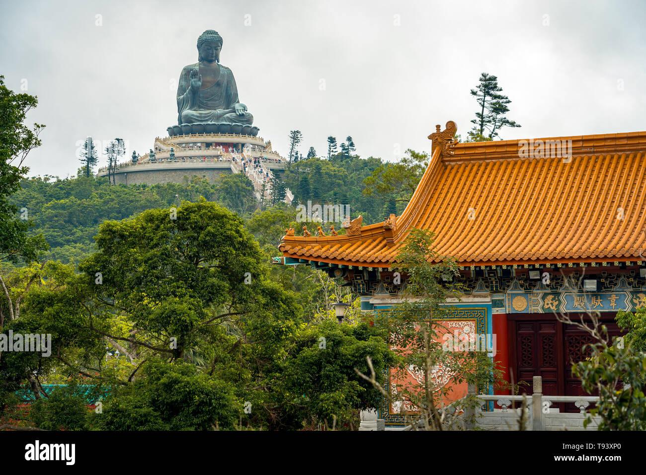 Hong Kong, China - Big Buddha statue (view from Po Lin Monastery) - Stock Image