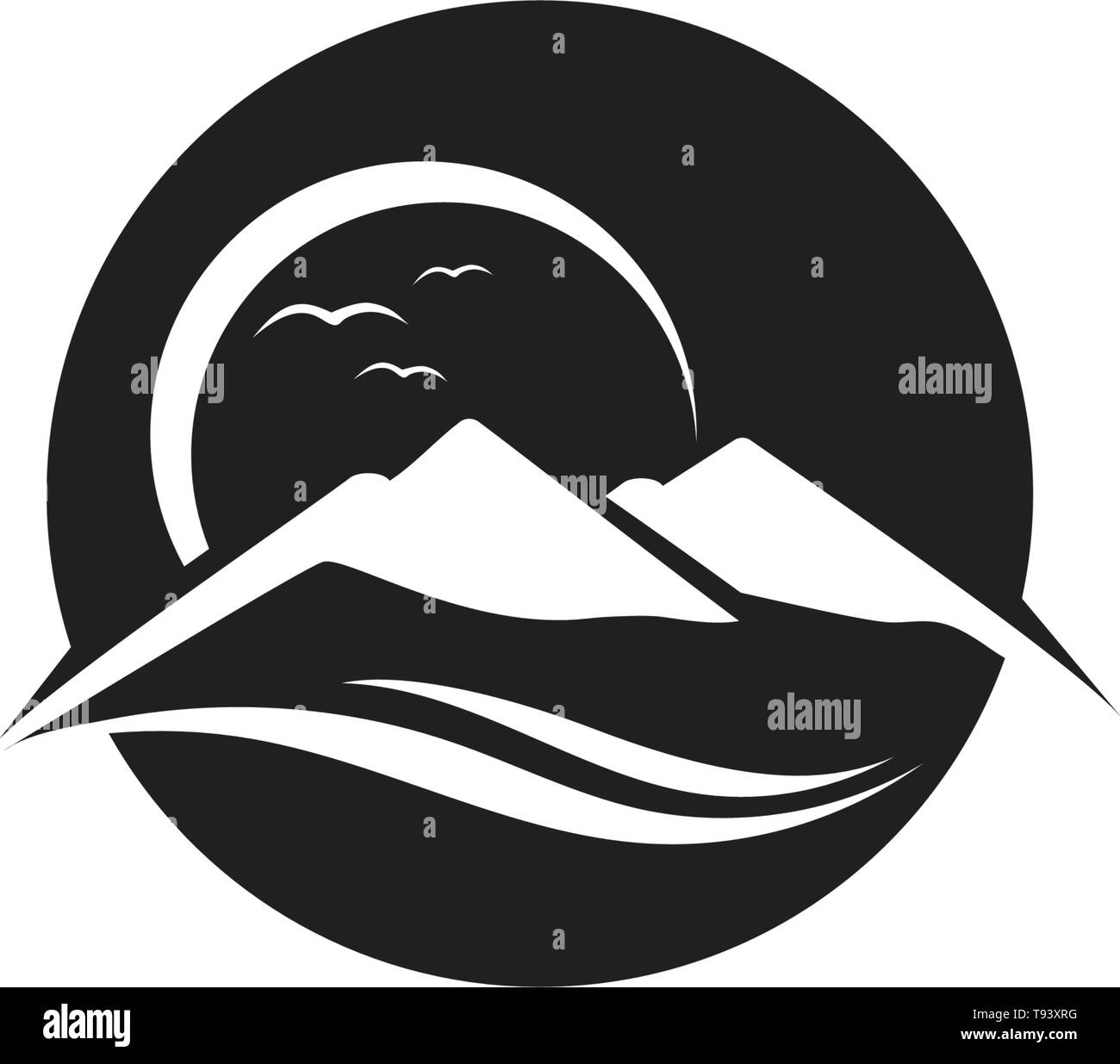 Minimalist Landscape Mountain logo design inspiration - Stock Vector