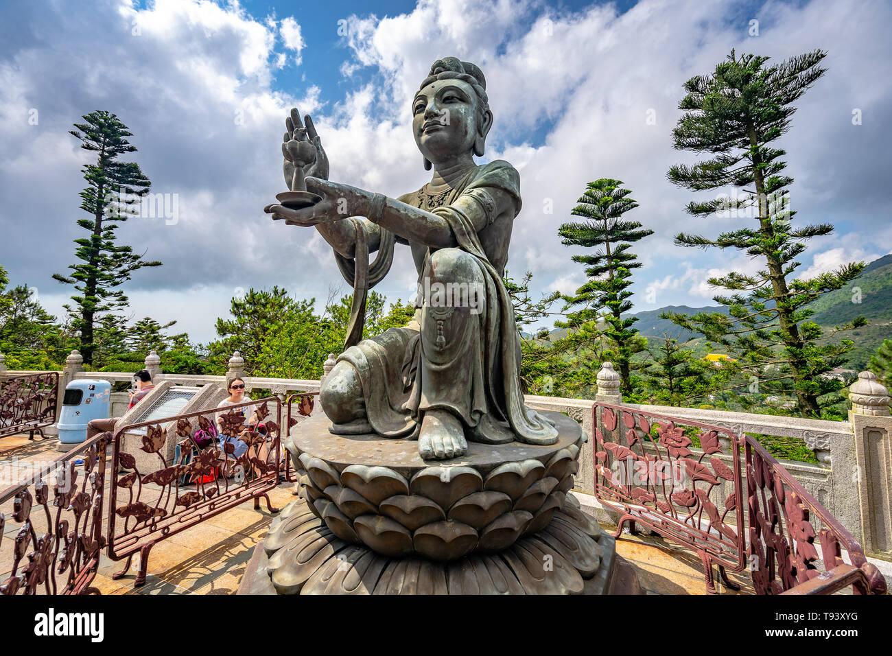 Hong Kong, China - Statues around the Big Buddha statue - Stock Image