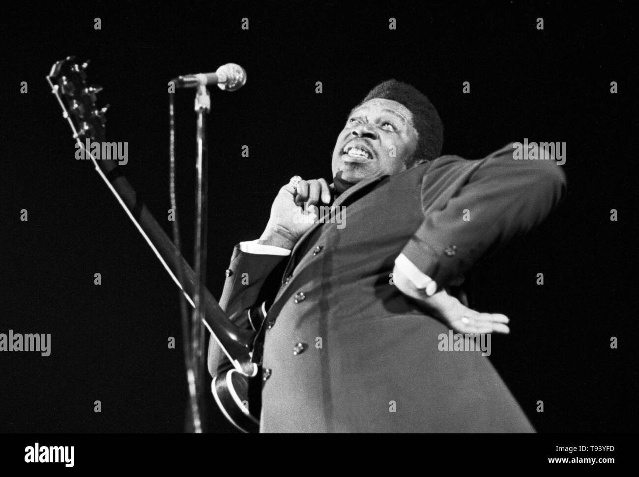 Amsterdam, Netherlands - 1st JANUARY: American Blues guitarist and singer B.B. King performs live at the Concertgebouw in Amsterdam, Netherlands in 1972. (Photo by Gijsbert Hanekroot) - Stock Image