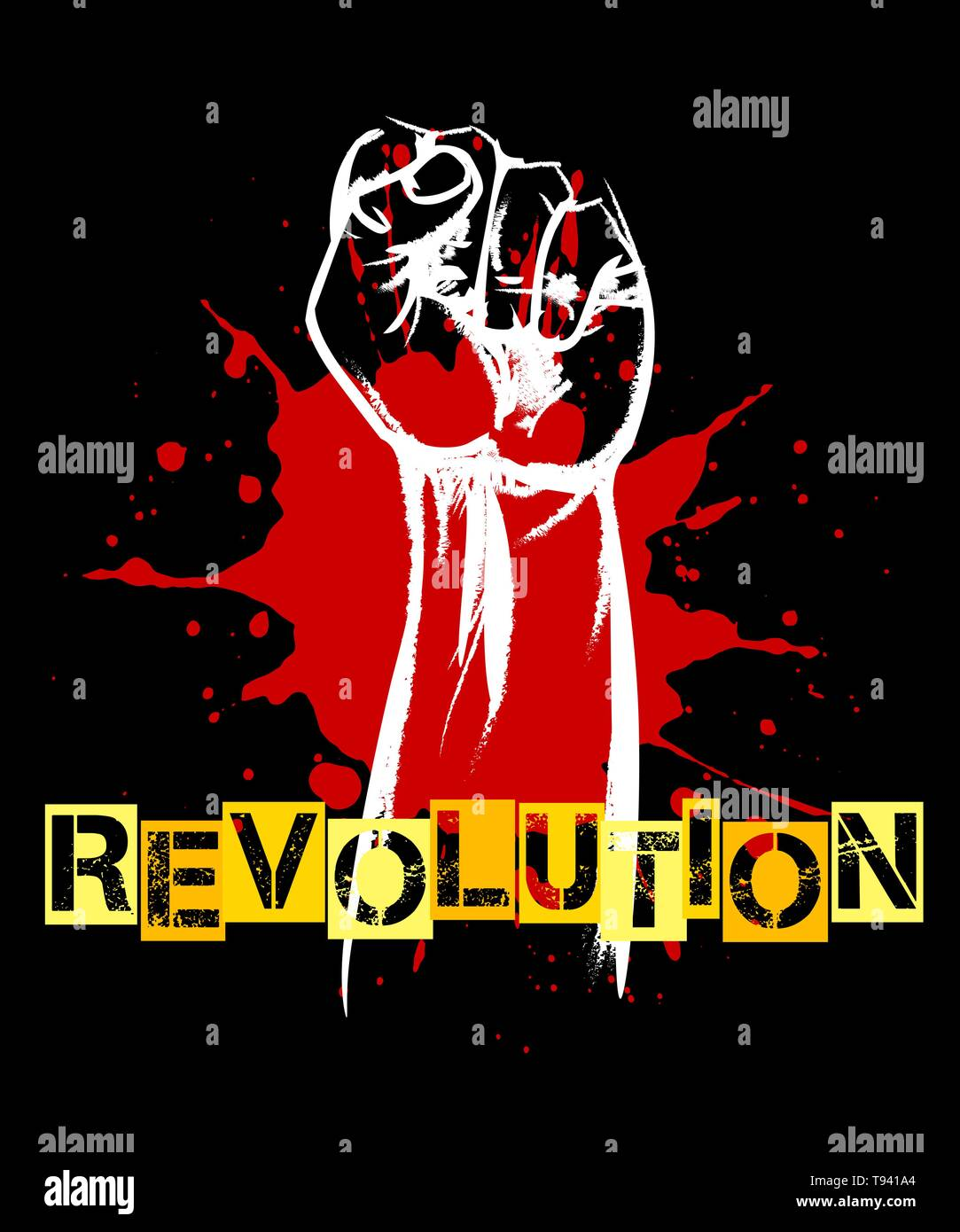 Revolution or resistance Retro poster. Raised fist and blood splat on black. Vector illustration. - Stock Vector