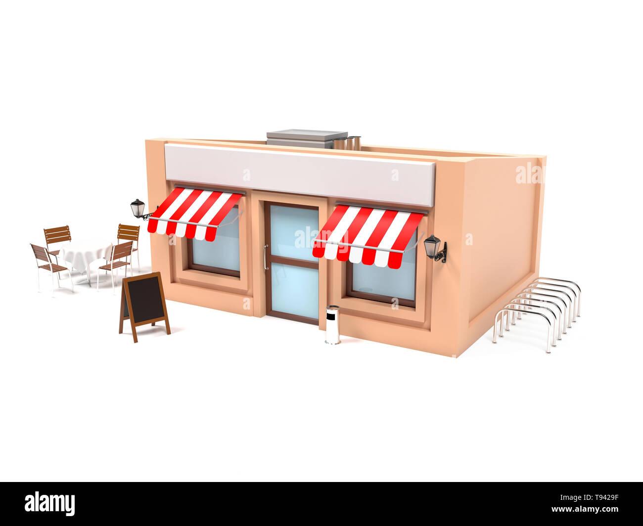 Market store complete exterior design. 3d rendering illustration - Stock Image