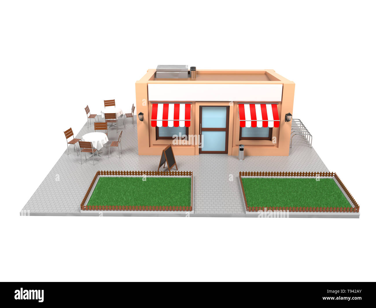 Market store complete exterior design. Urban scene. 3d rendering illustration. - Stock Image
