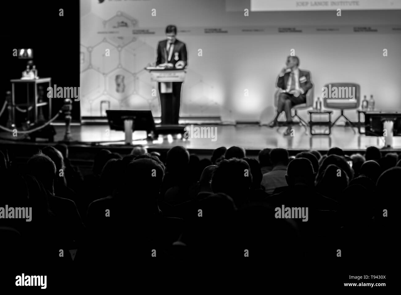 Onno Schellekens Speaking At The FT Future Of Health Conference At The Kit Building Amsterdam The Netherlands 2019 In Black And White - Stock Image