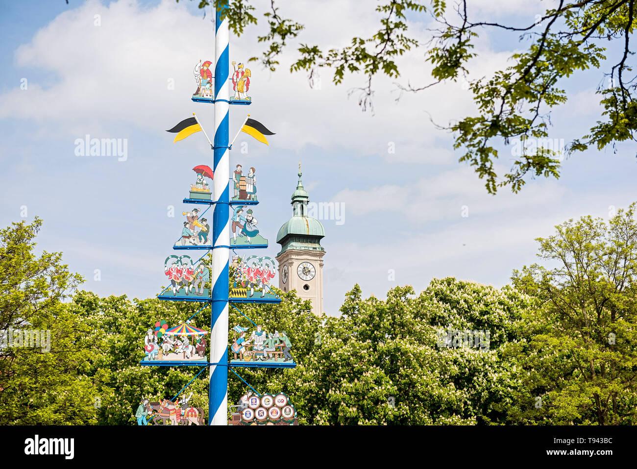Maibaum on Viktualienmarkt, München, Germany - Stock Image