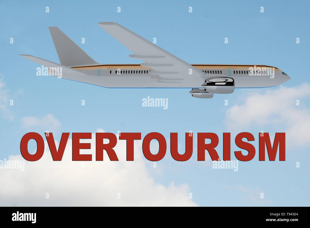 3D illustration of OVERTOURISM title on cloudy sky as a background, under an airplane. - Stock Image