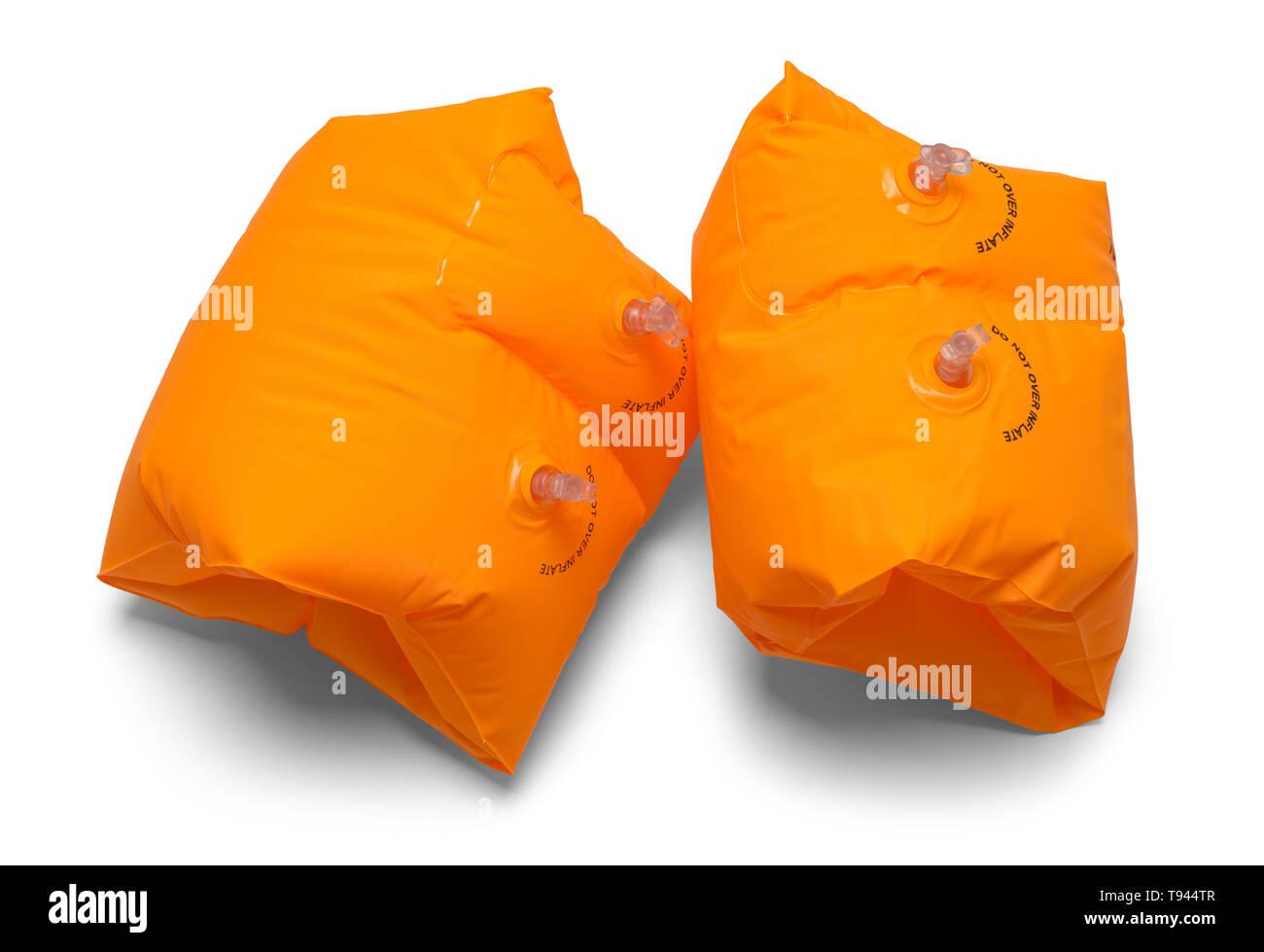 Two Orange Swimming Arm Floats Isolated on White. Stock Photo